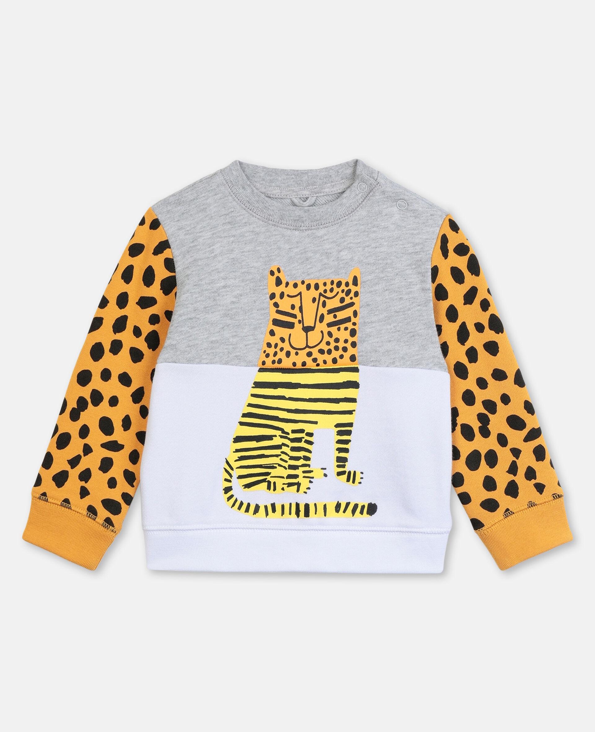 Sweat-shirt en coton à motif tigre-Gris-large image number 0
