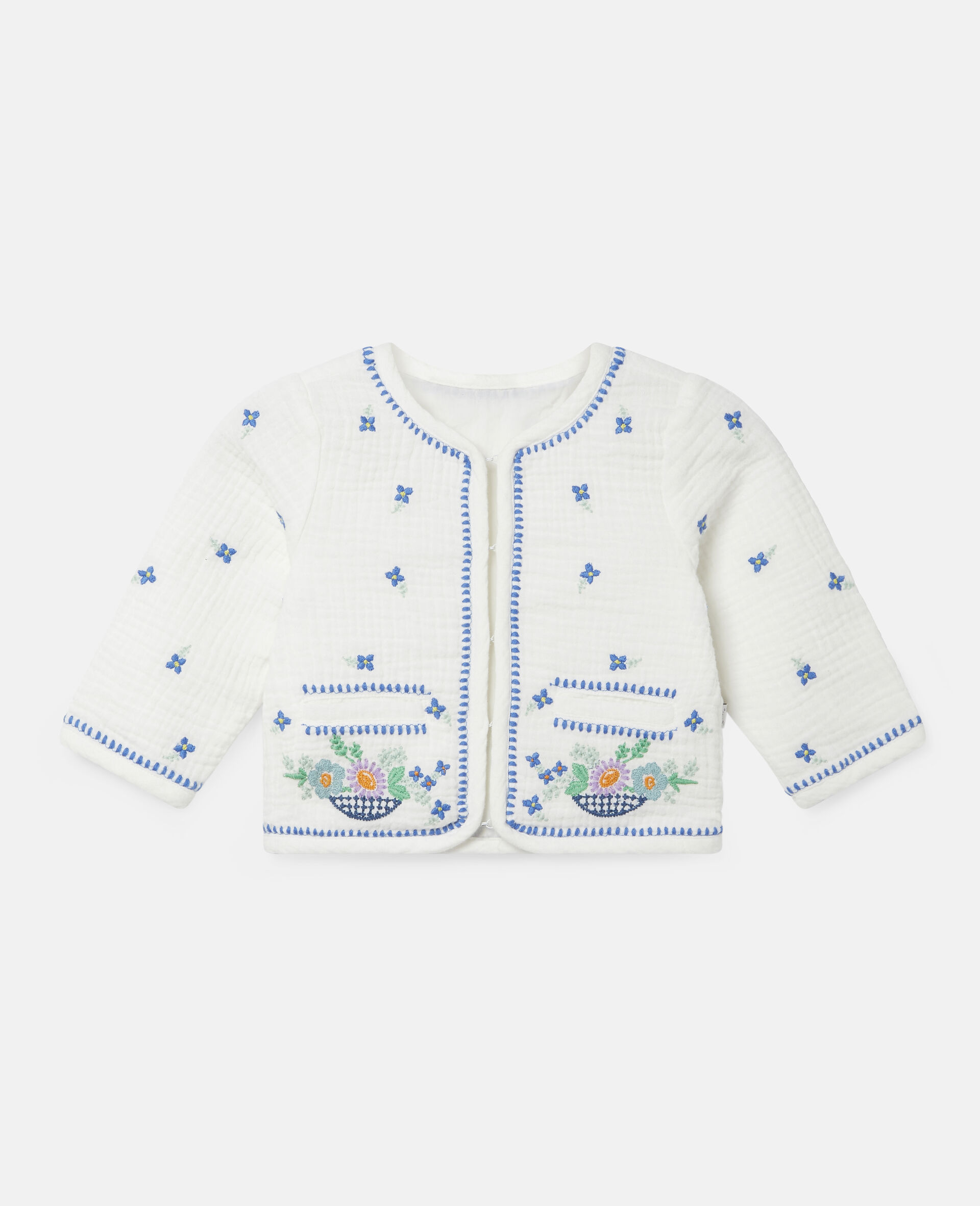 Embroidered Flowers Cotton Jacket-White-large image number 0