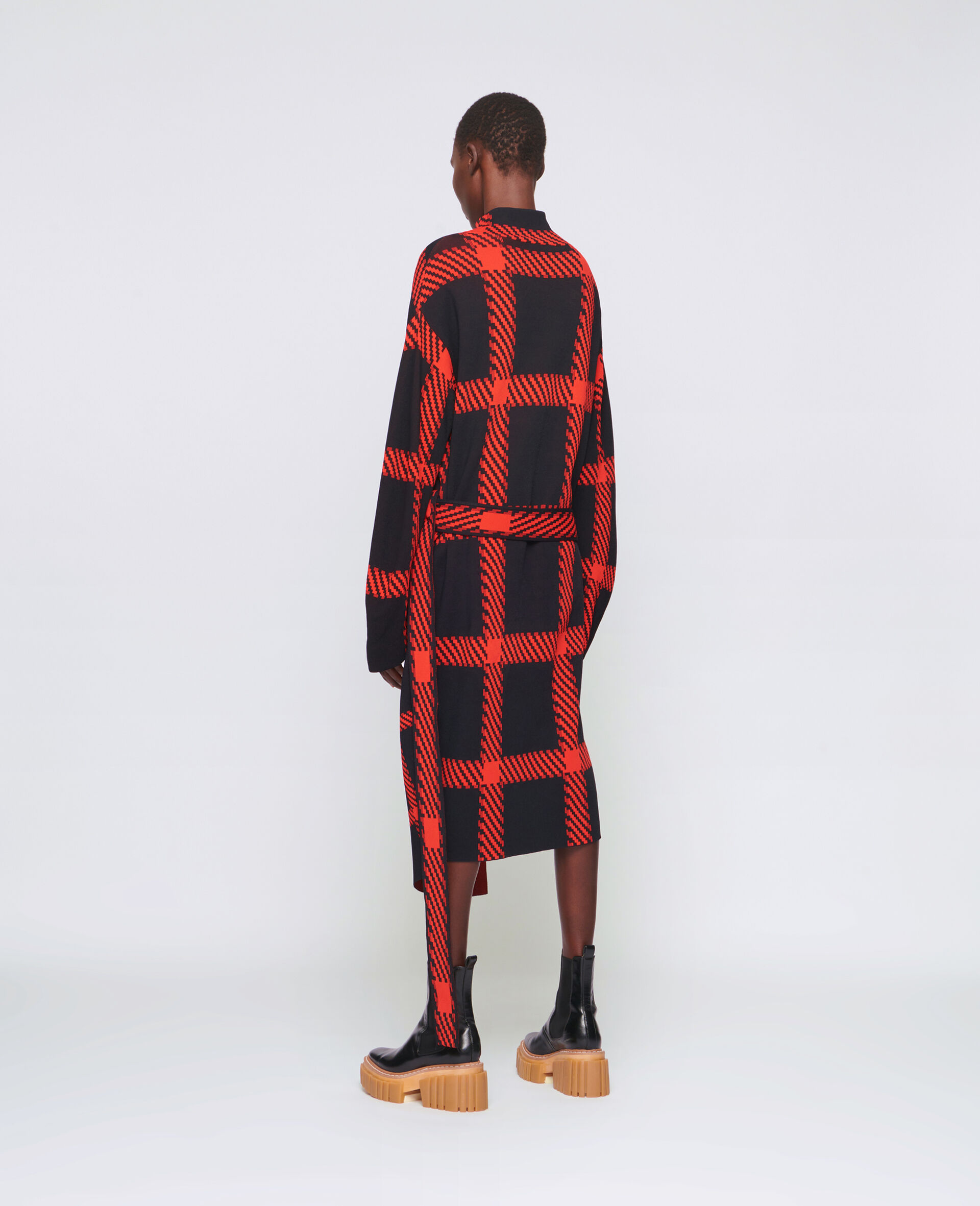 Knit Check Dress-Multicolour-large image number 2