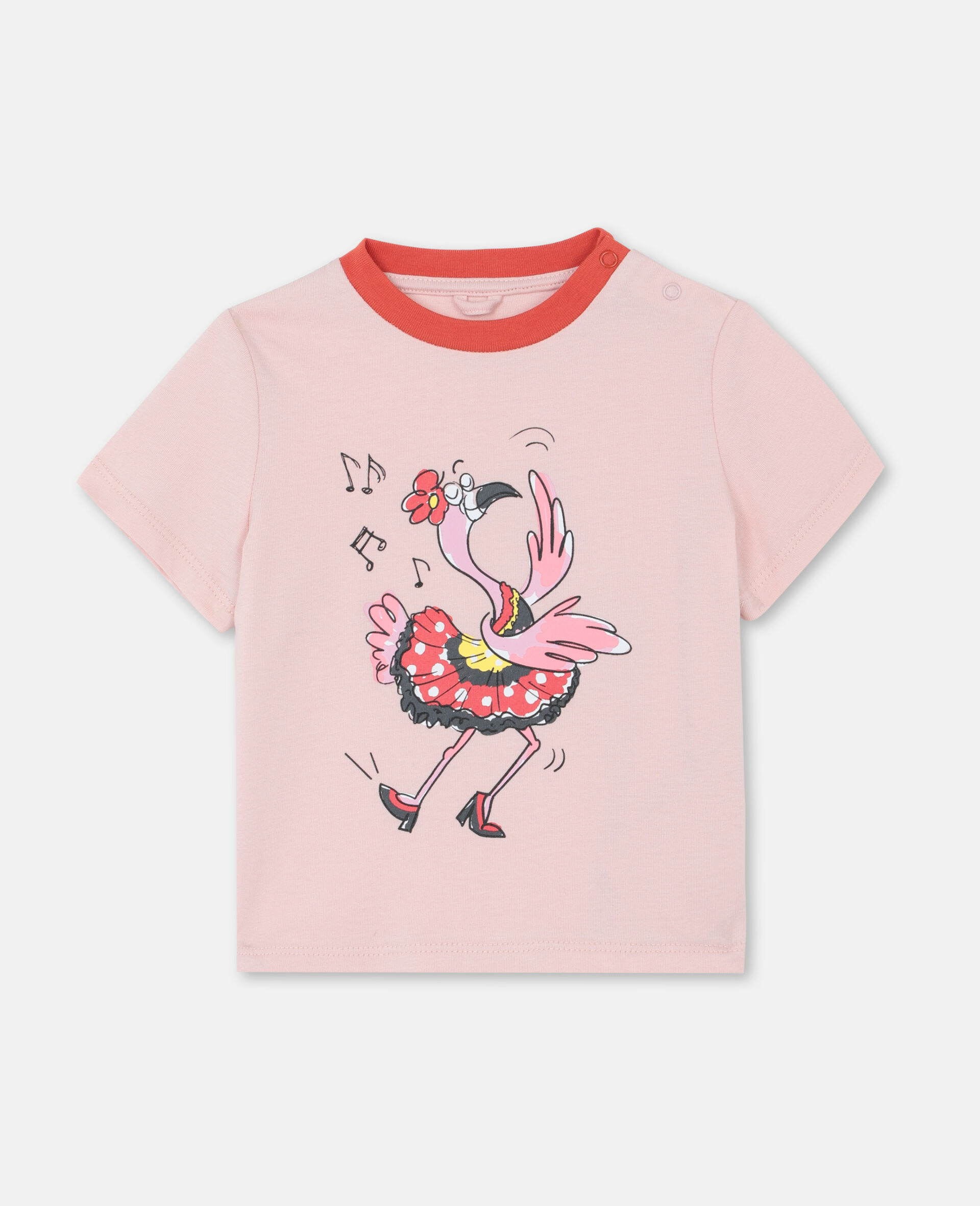 T-shirt en coton à motif flamant rose dansant-Rose-large image number 0