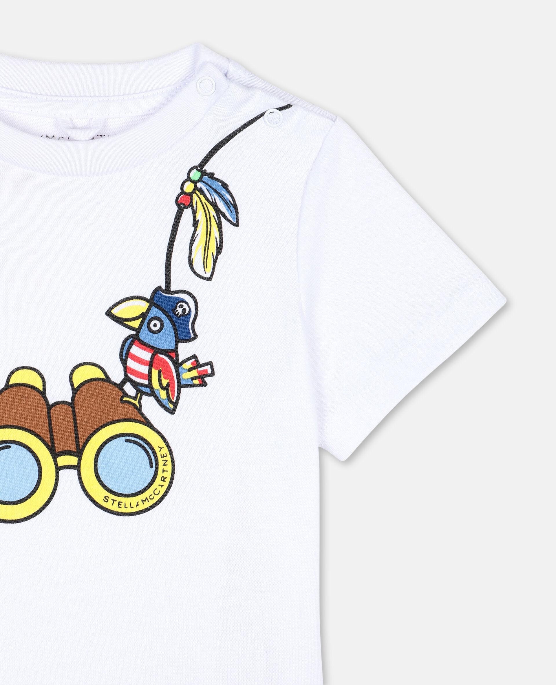 T-Shirt aus Baumwolle mit Fernglas-Print -Weiß-large image number 2