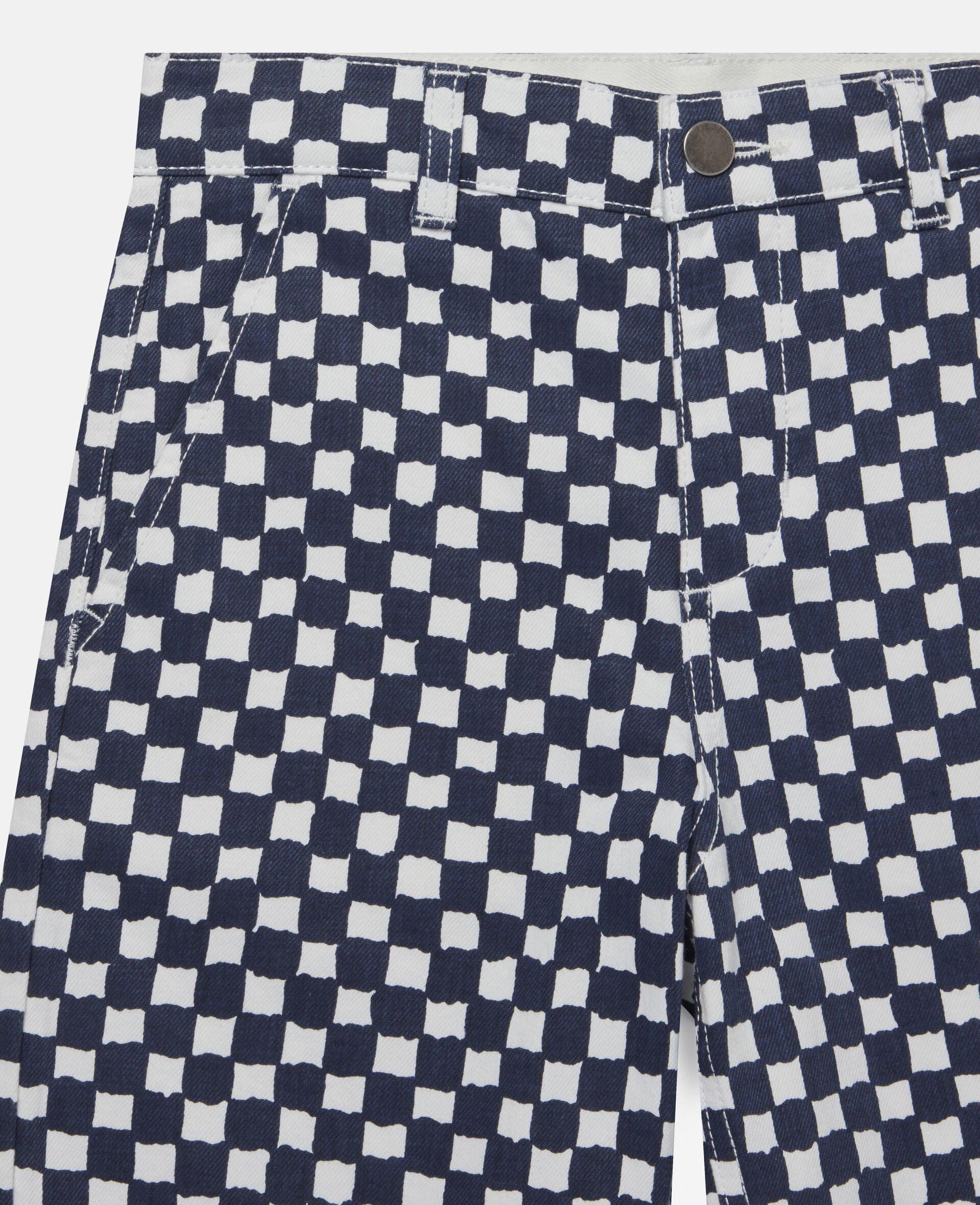 格纹牛仔短裤 -Multicolored-large image number 1