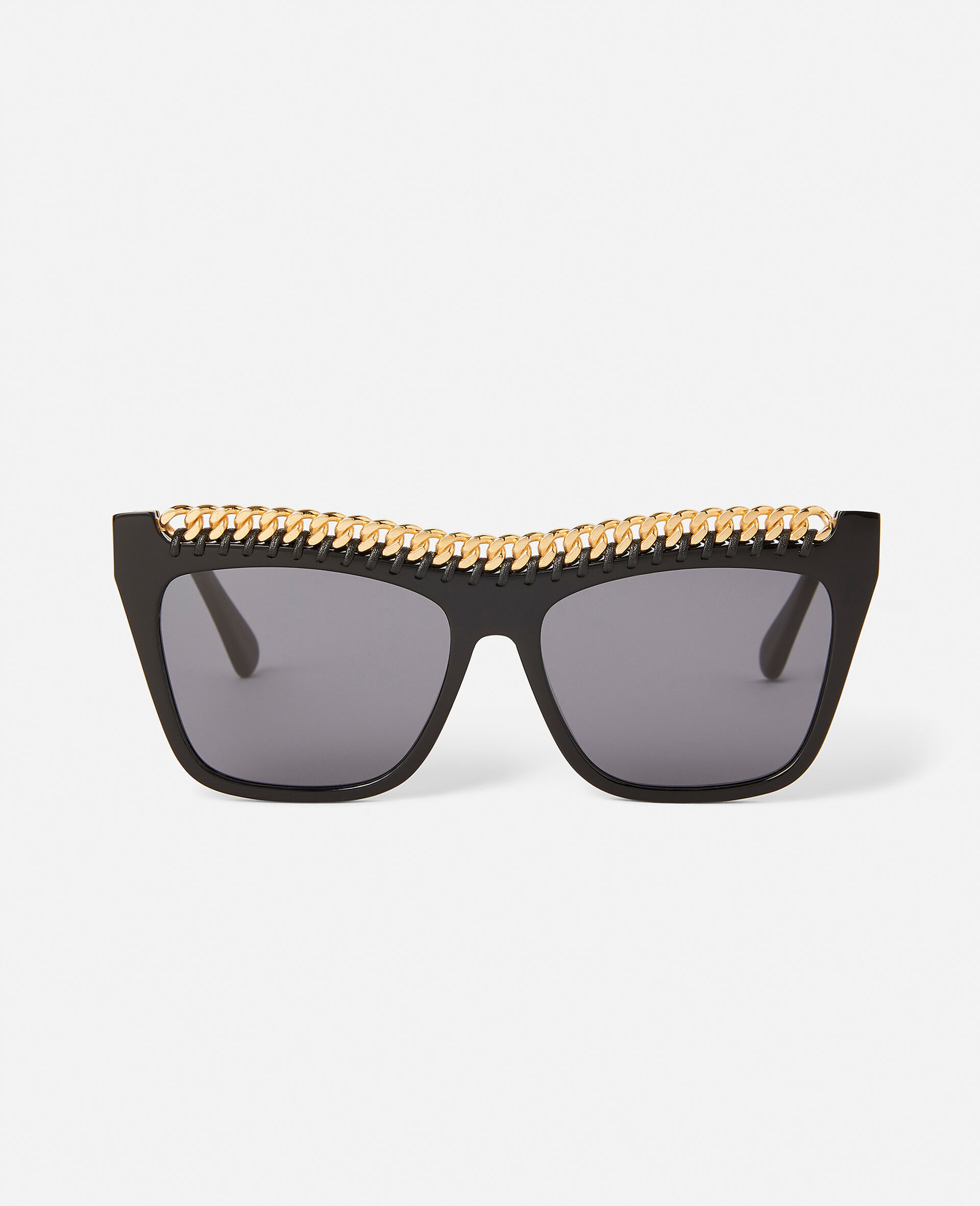 Shiny Black Square Sunglasses-Black-large image number 0