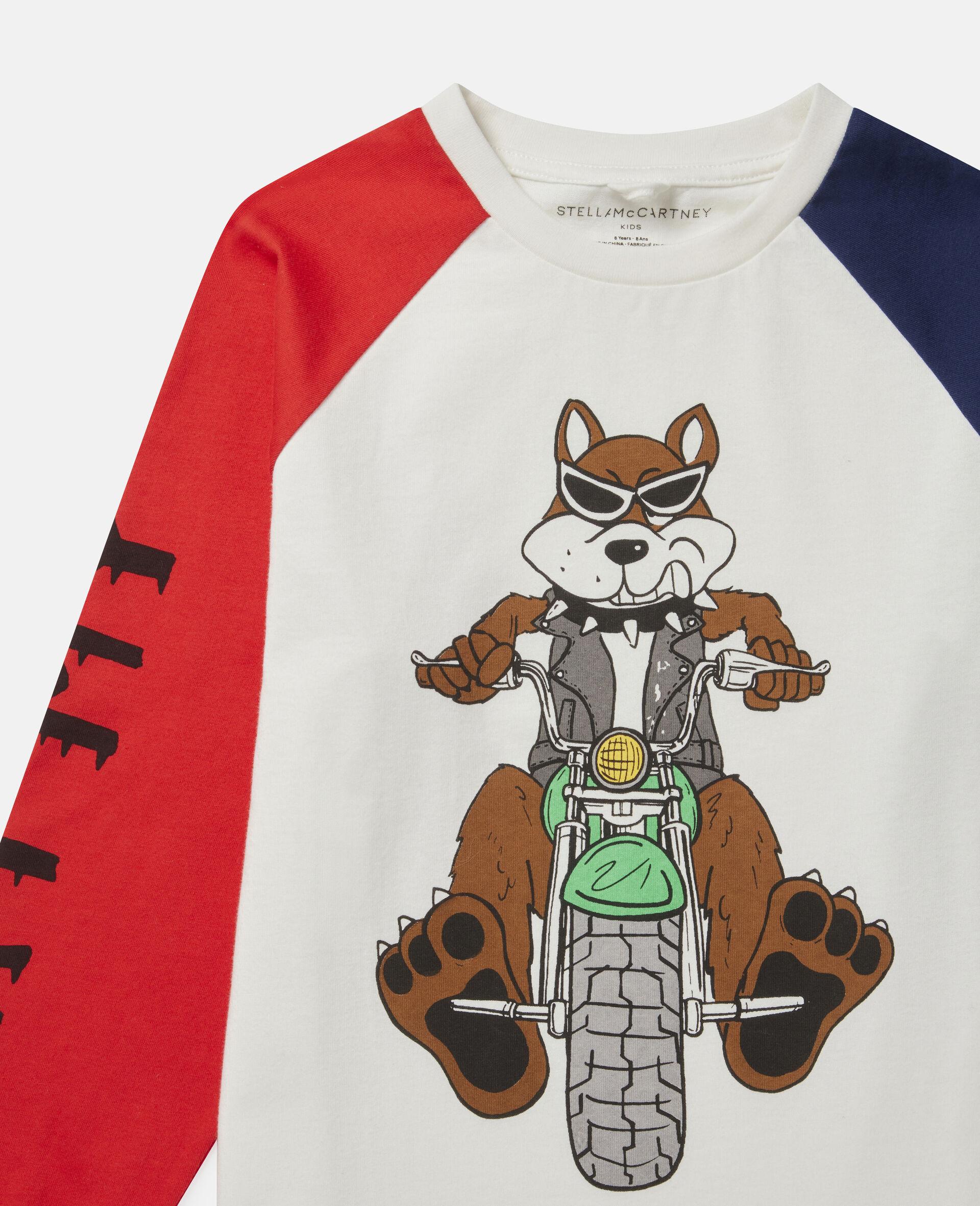 Haut oversize en coton imprimé chien motard-Fantaisie-large image number 1