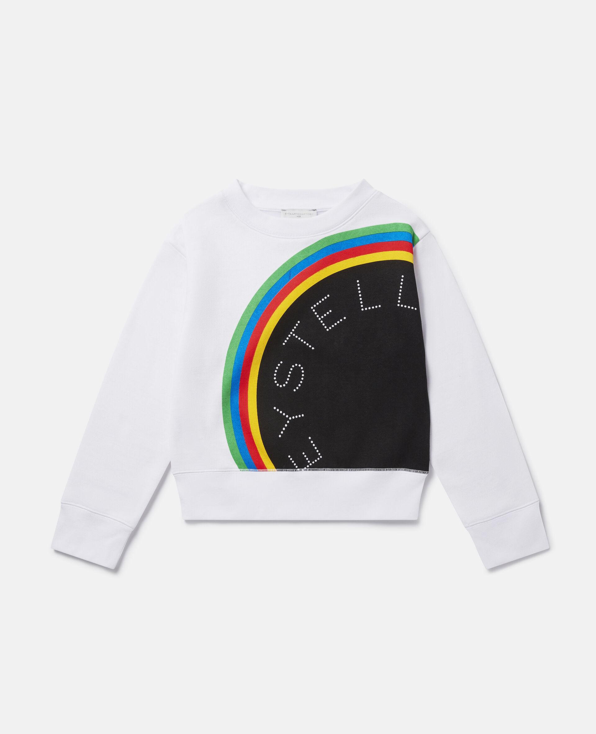 Sport-Sweatshirt aus Fleece mit Streifen-Logo-Weiß-large image number 0