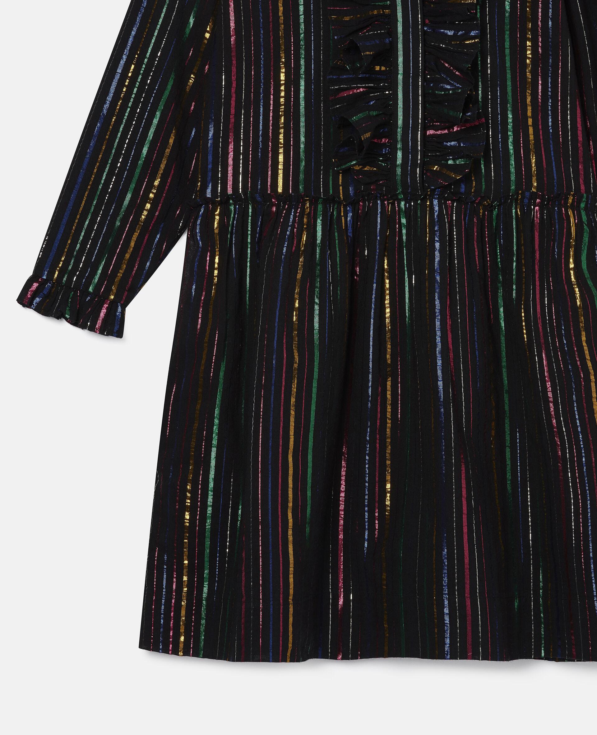 Rainbow Lurex Striped Cotton Dress-Black-large image number 1