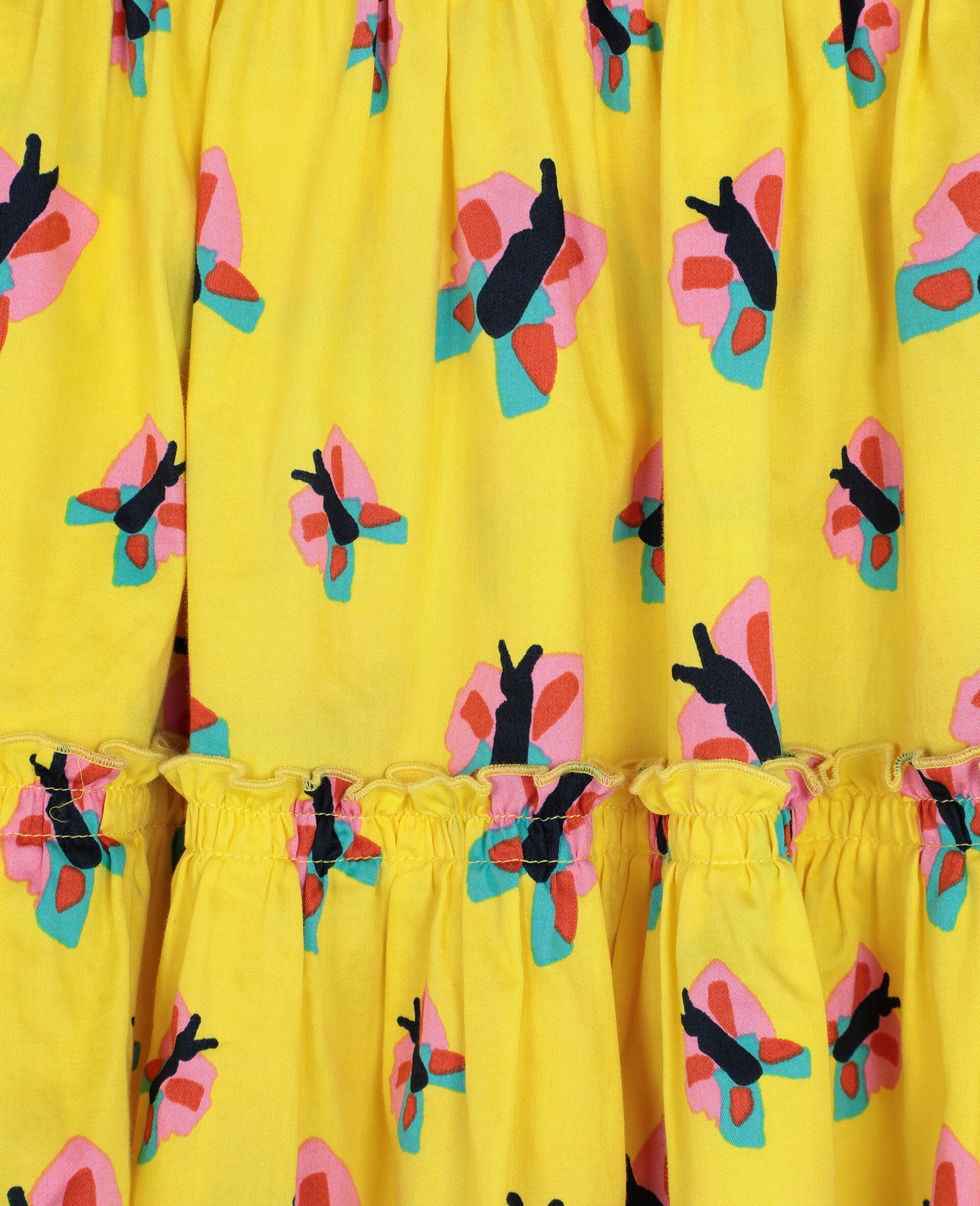 Jupe en coton avec motif papillons -Jaune-large image number 2