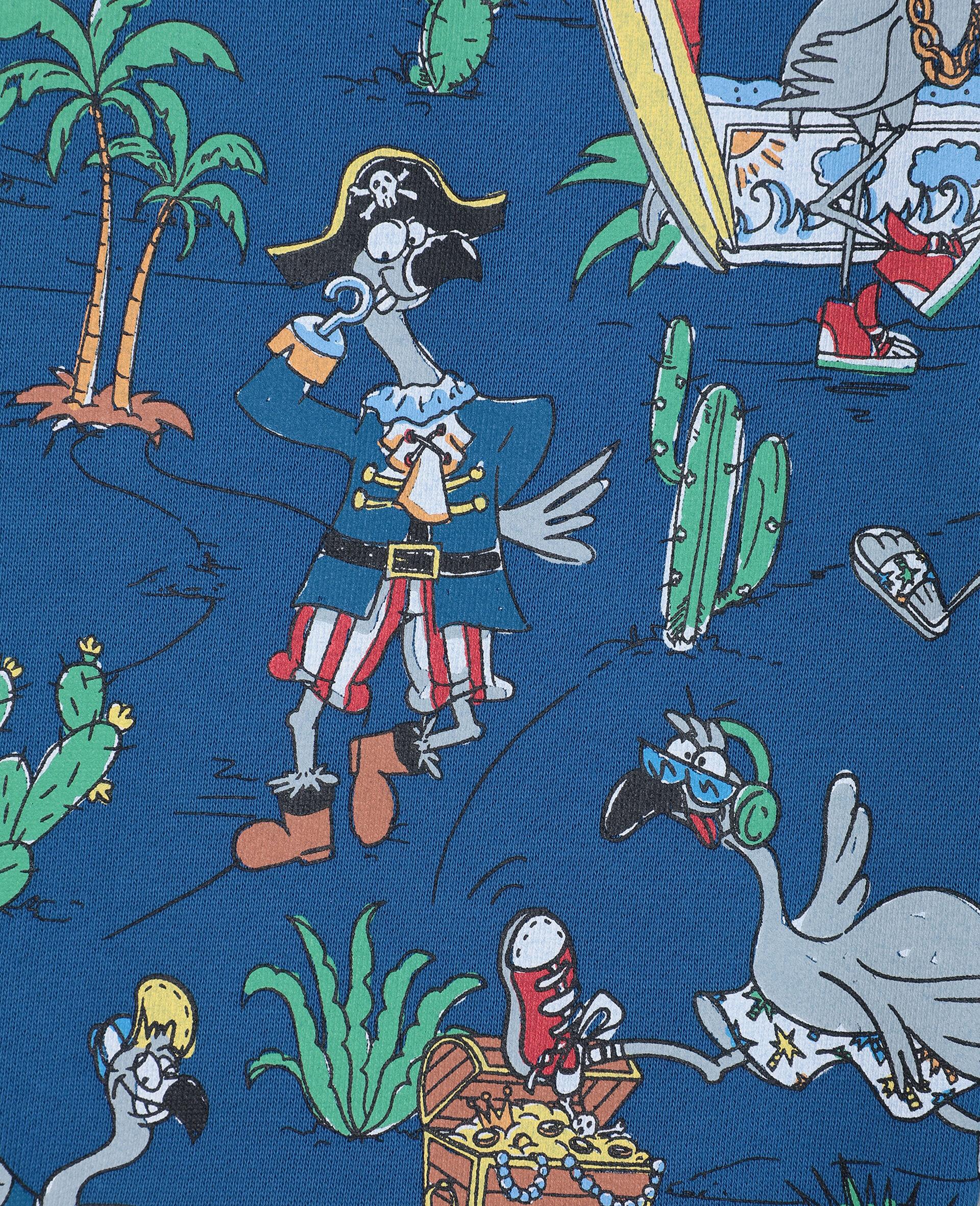 Baumwollshorts mit Flamingo-Land-Print -Blau-large image number 1