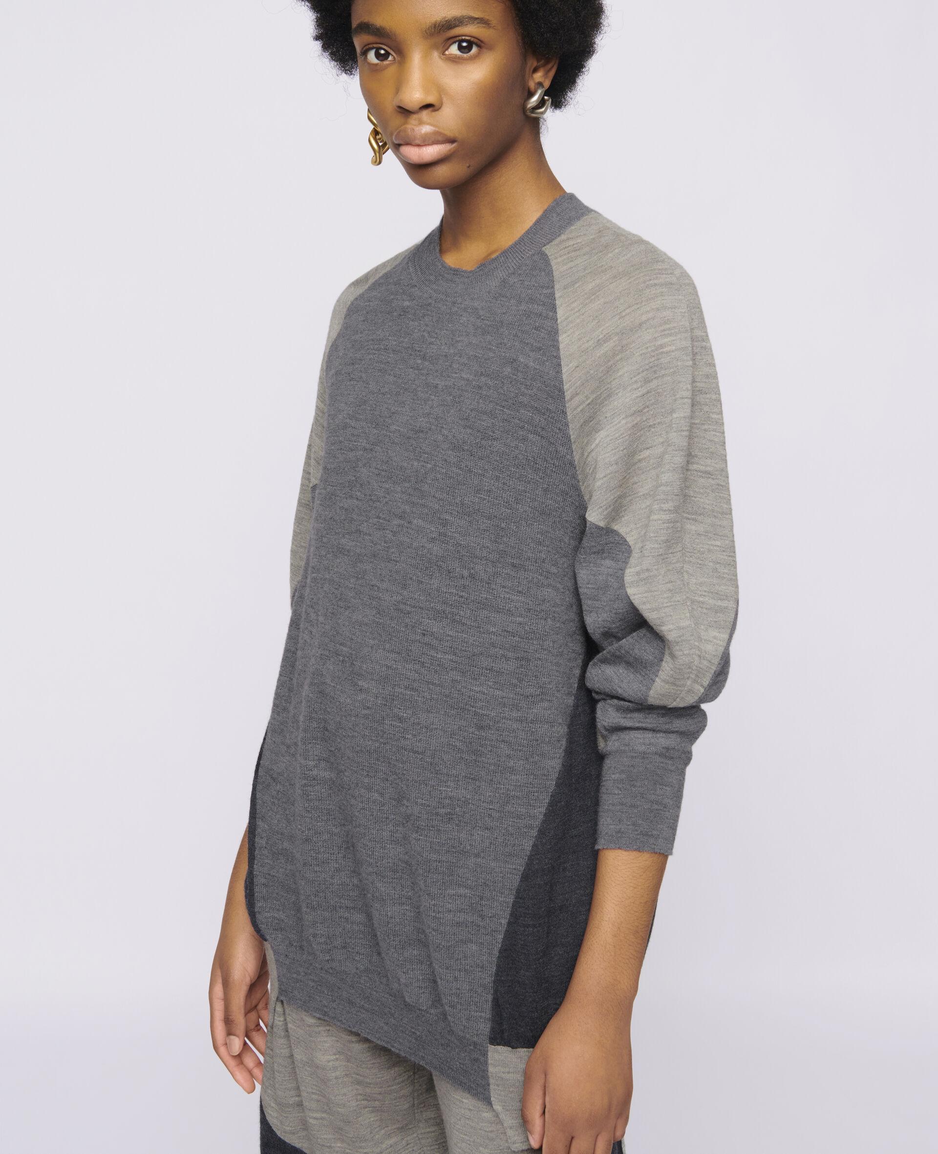 Oversized Knit Sweater-Grey-large image number 3