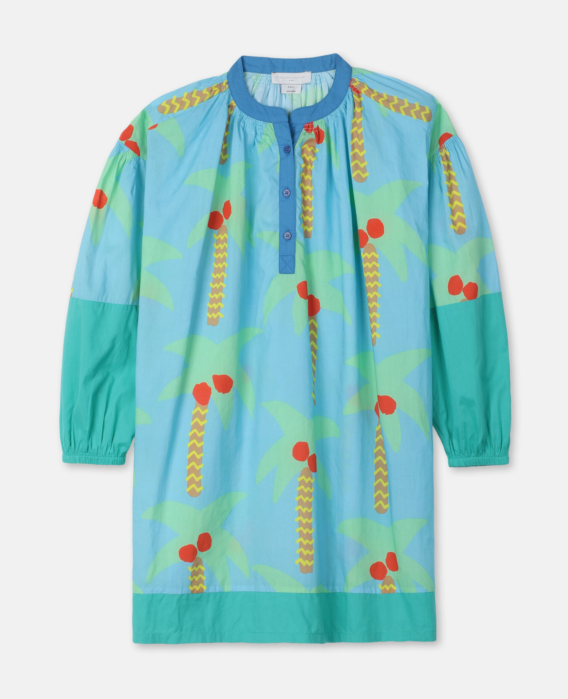 Palm Trees Oversize Cotton Dress-Green-large image number 0