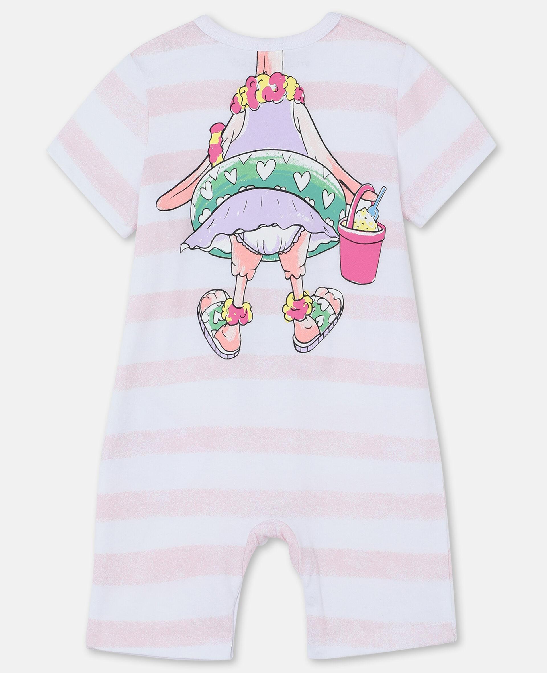 Trompe-L'Oeil Flamingo Cotton Jumpsuit-White-large image number 3