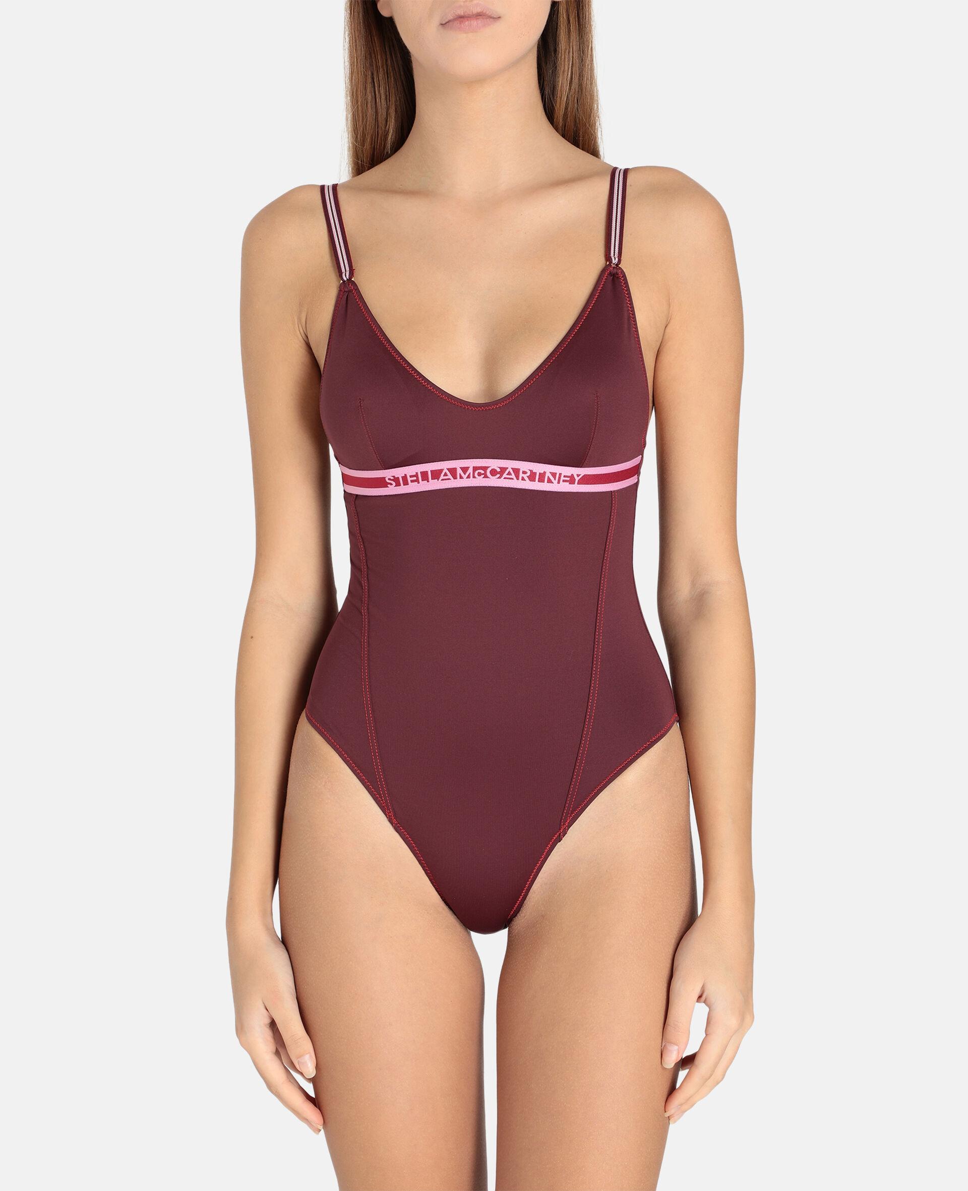 Logo Tape Padded Swimsuit-Burgundy-large image number 3