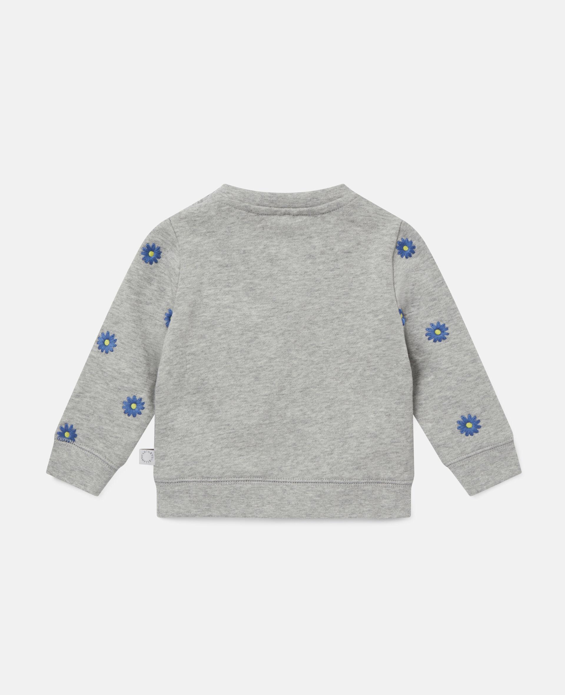 Embroidered Daisies Fleece Sweatshirt -Grey-large image number 3