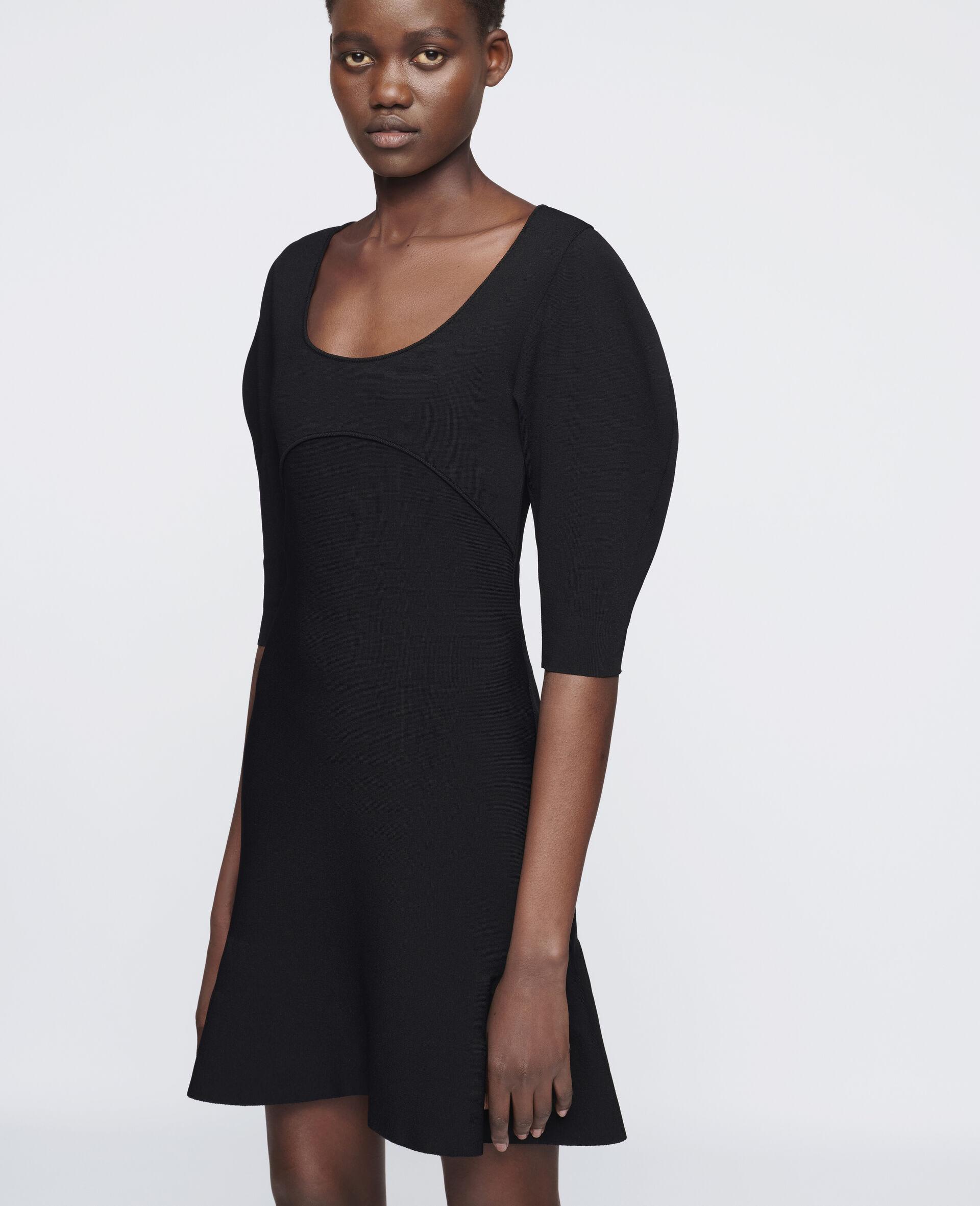致密针织连衣裙-黑色-large image number 3