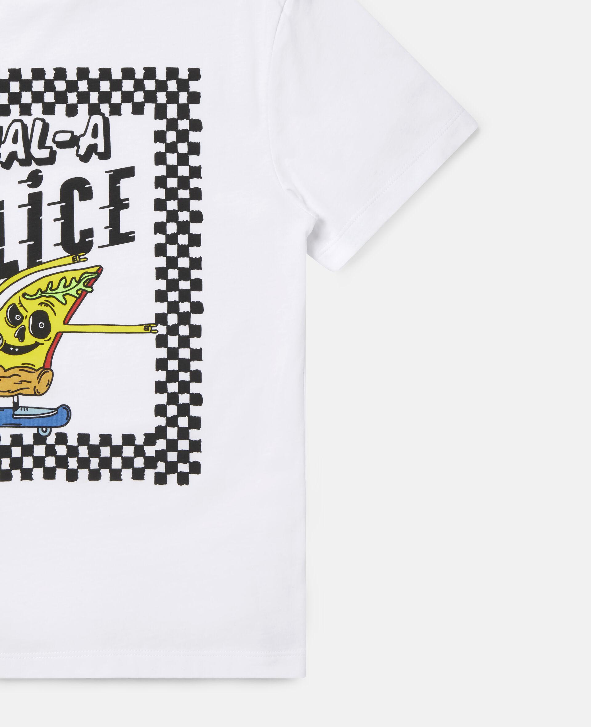 Übergroßes Baumwoll-T-Shirt mit Pizza-Skater-Motiv -Weiß-large image number 1