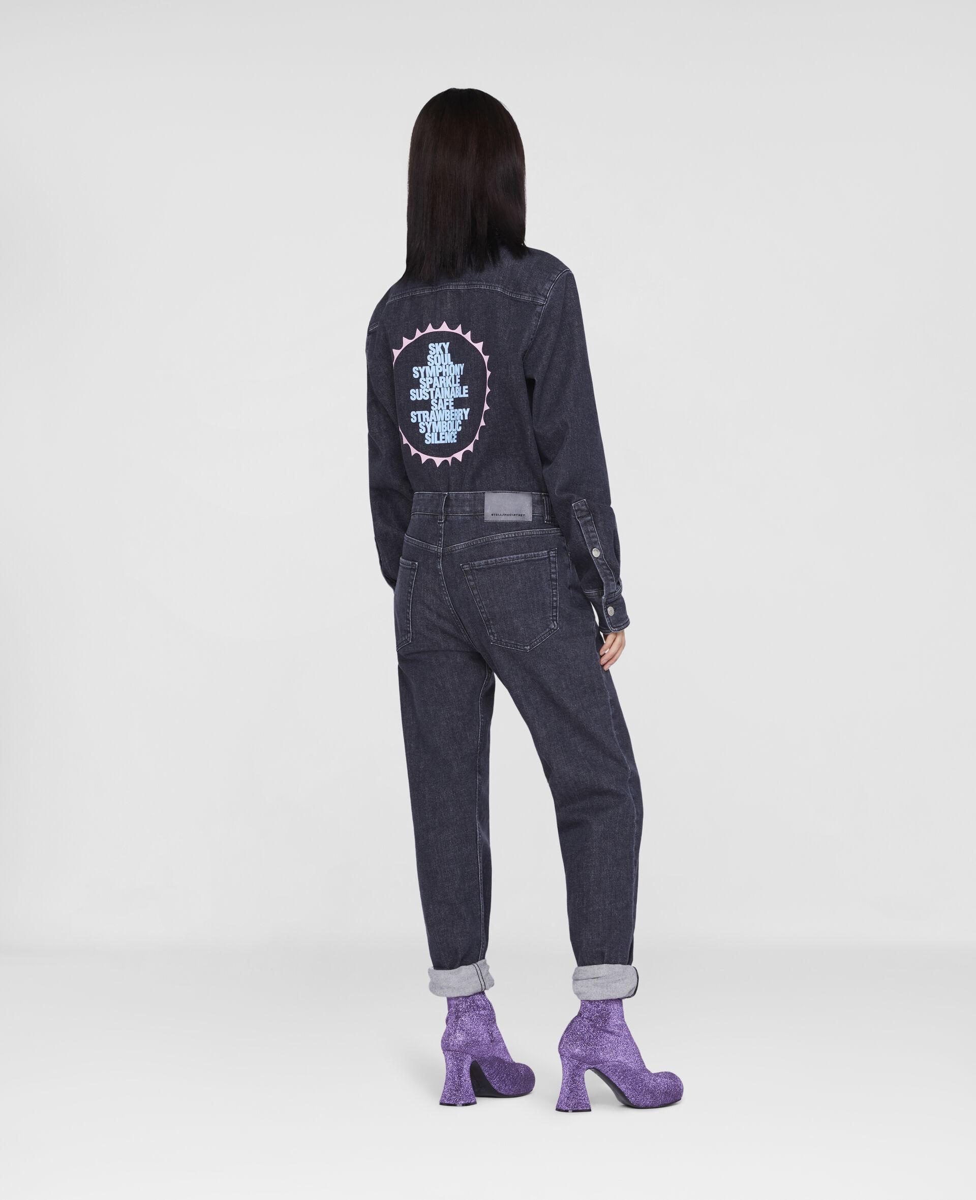 Jeans in Denim con Logo Stella Tom Tosseyn-Nero-large image number 2