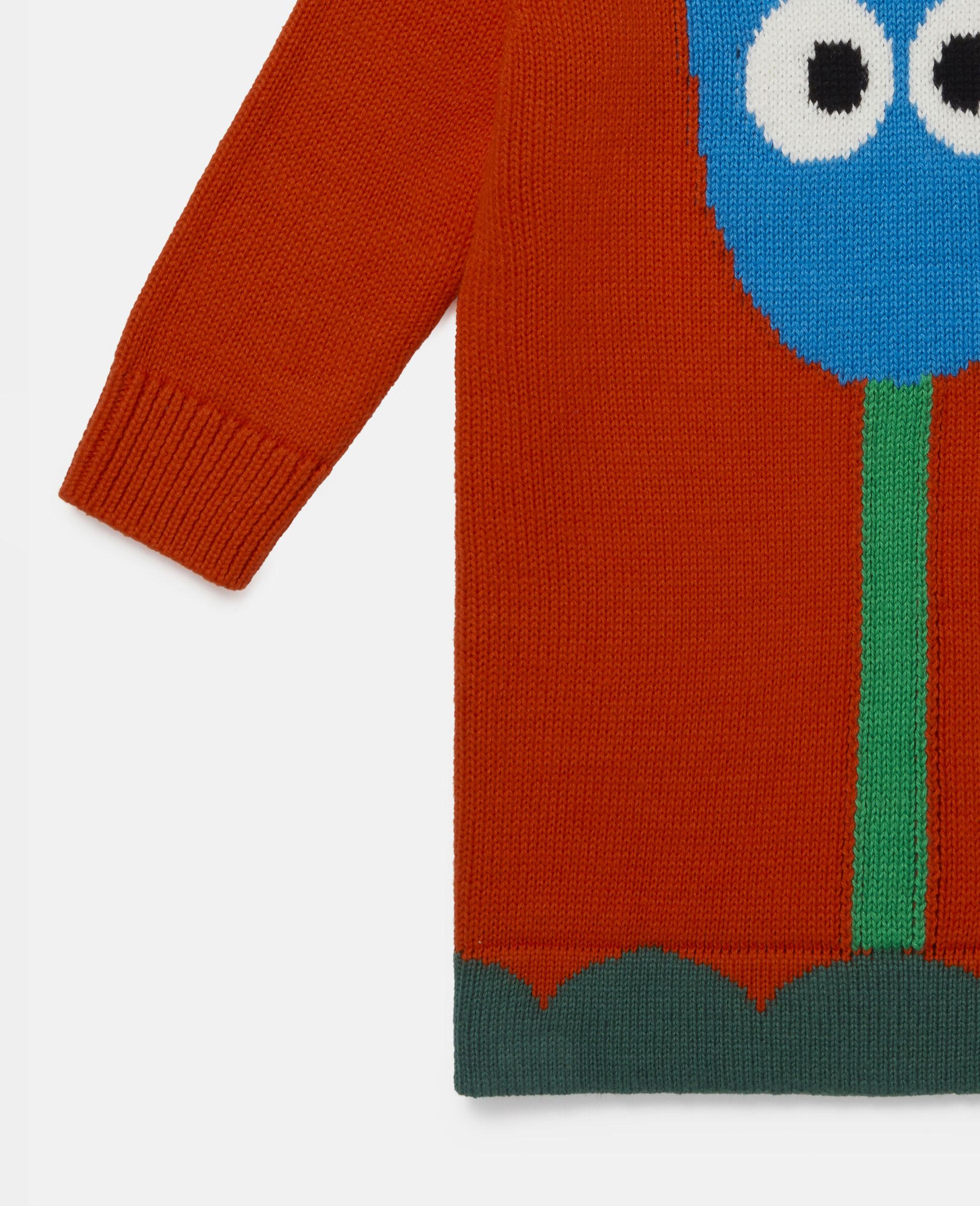 Denim-Kleid mit Tulpen-Intarsien-Rot-large image number 1