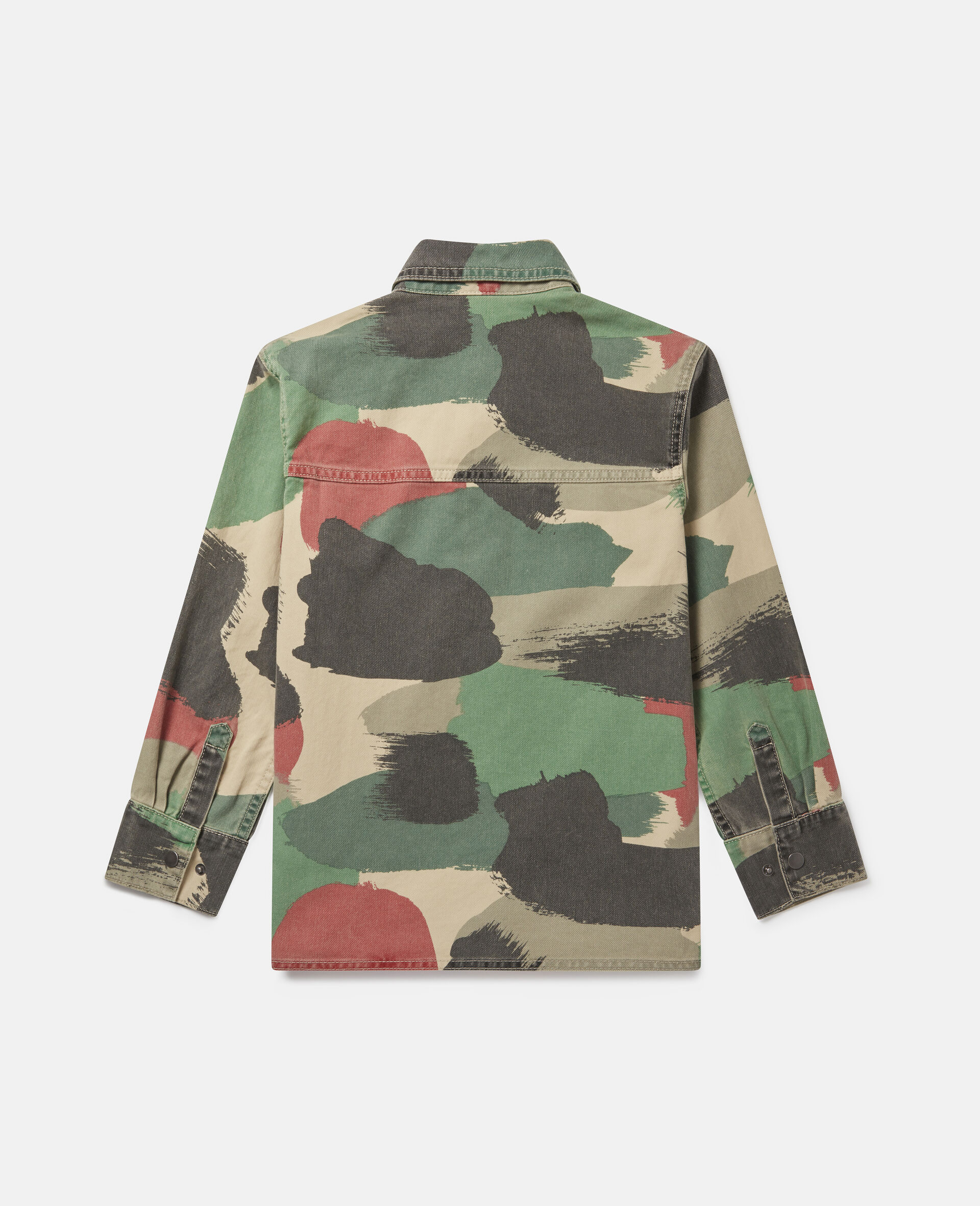Camouflage Oversized Denim Shirt-Multicolour-large image number 2