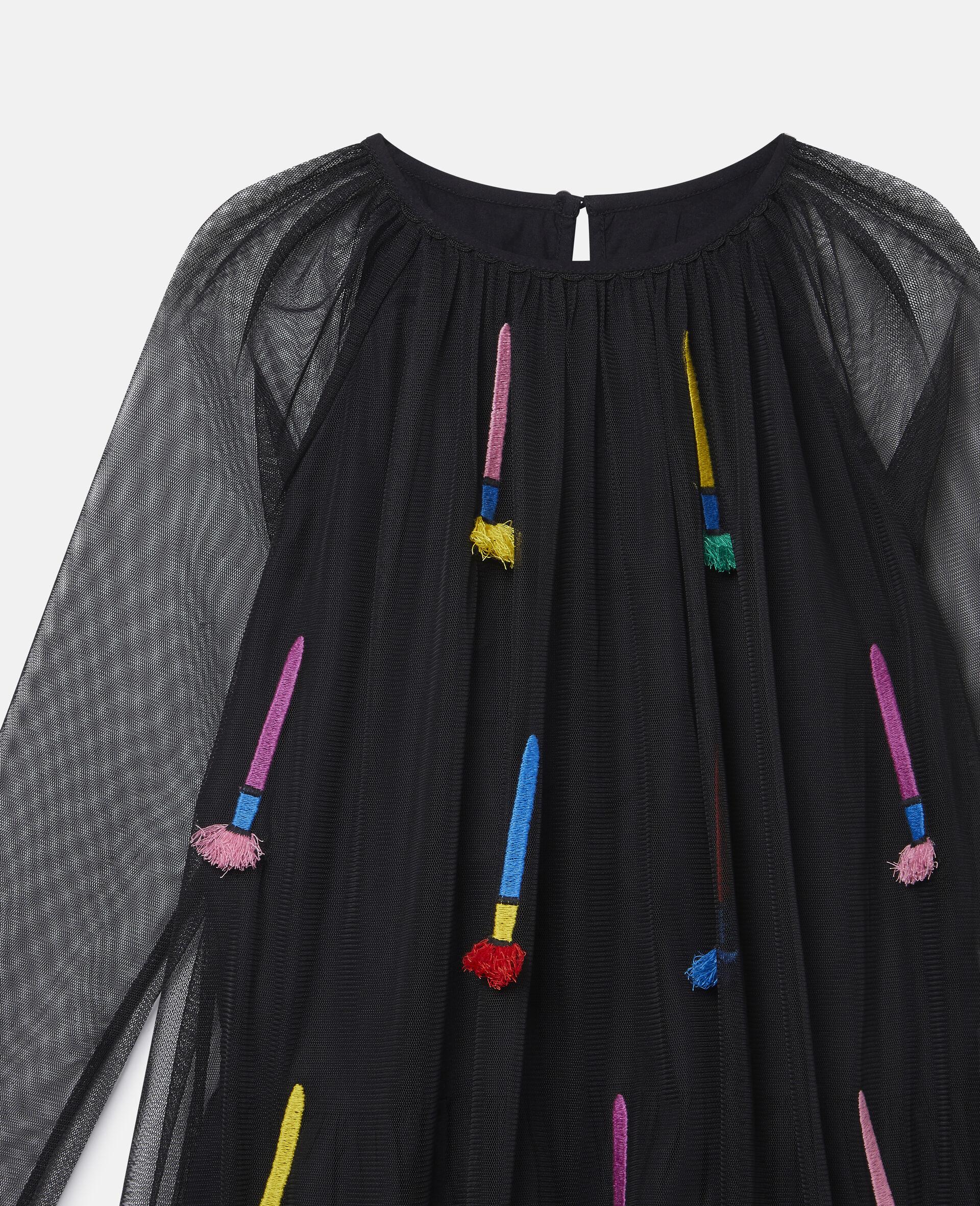 Kleid aus Tüll mit Pinsel-Stickerei-Schwarz-large image number 2