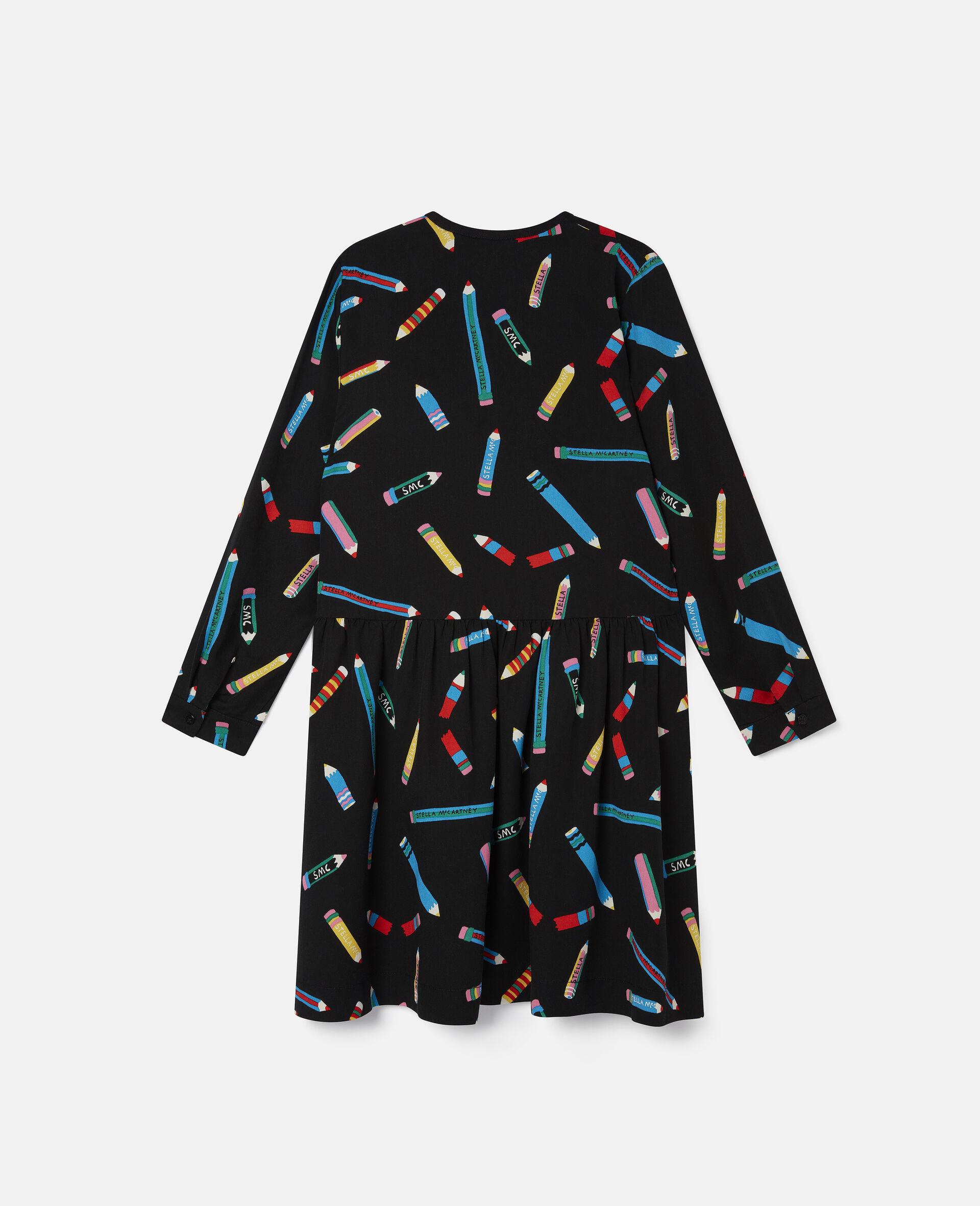 Kleid aus Twill mit Stifte-Print -Schwarz-large image number 3