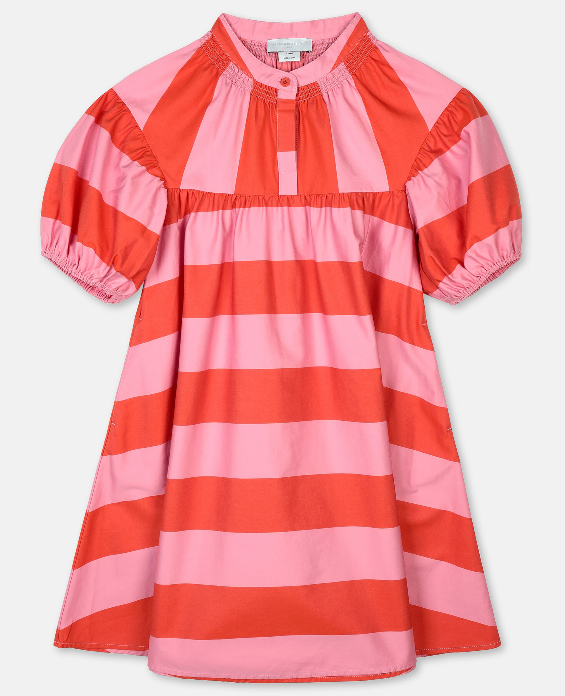 Striped Cotton Dress -Pink-large image number 0