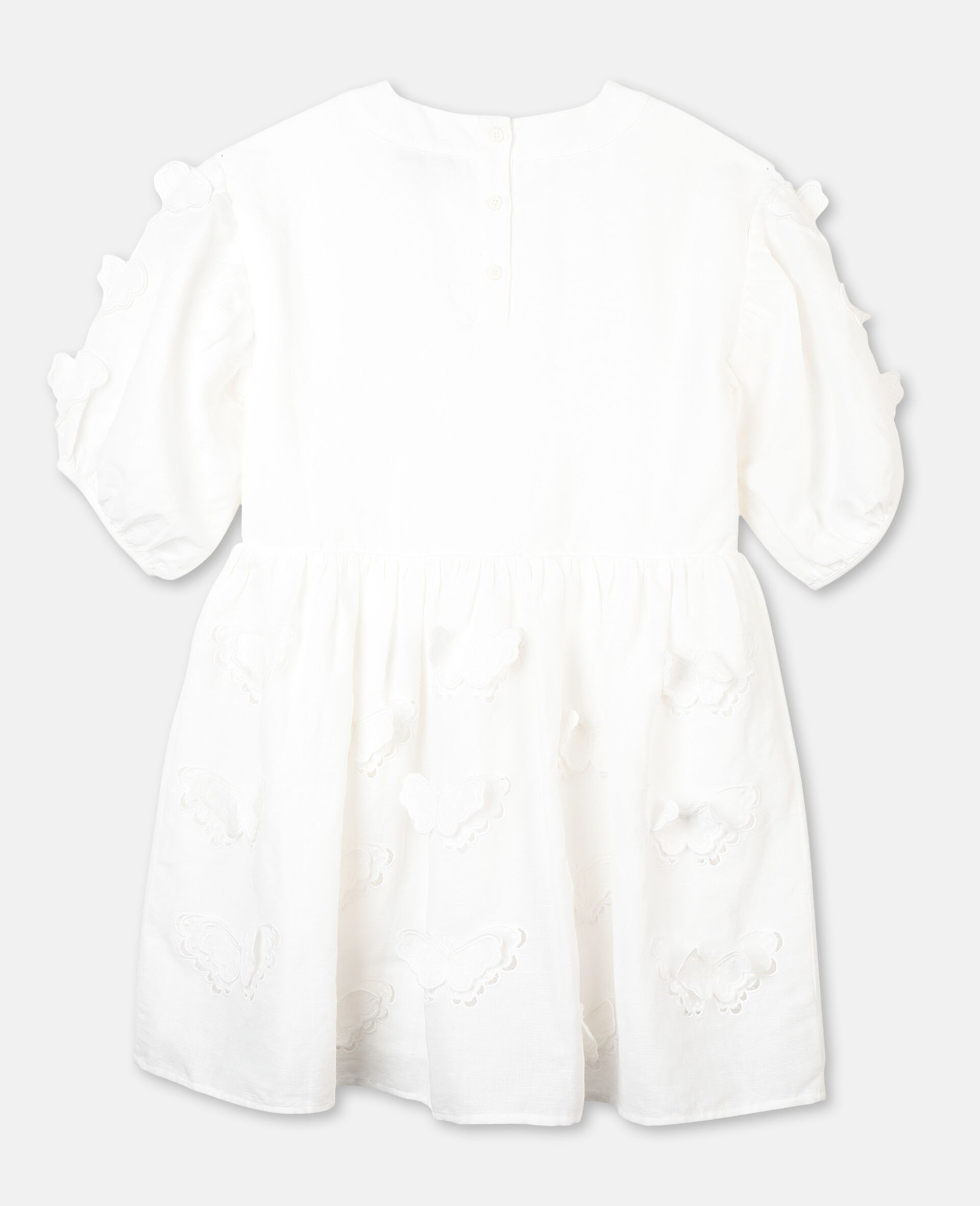 Kleid mit Schmetterling-Stickerei-Weiß-large image number 3
