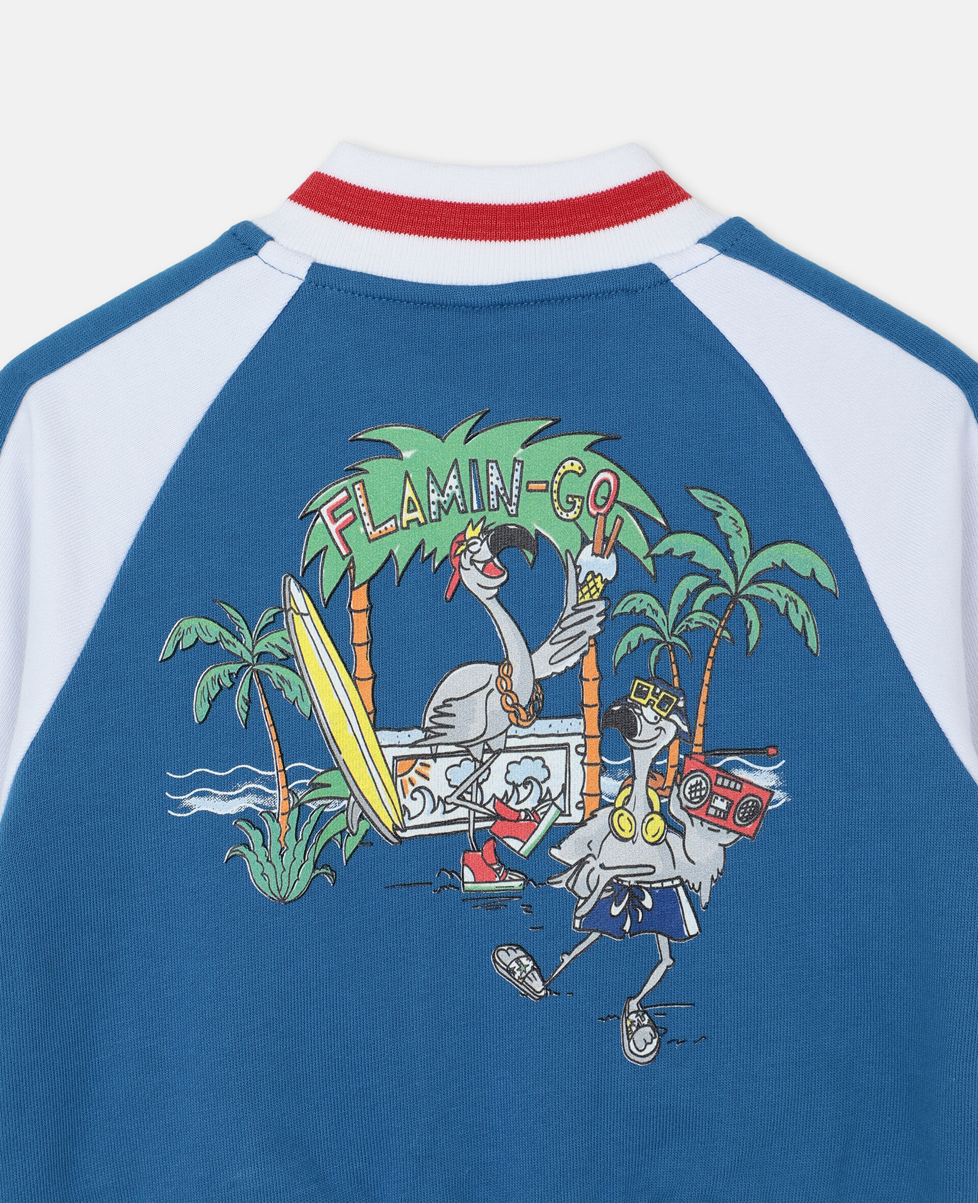 Flamingo Party Cotton Cardigan -Blue-large image number 2