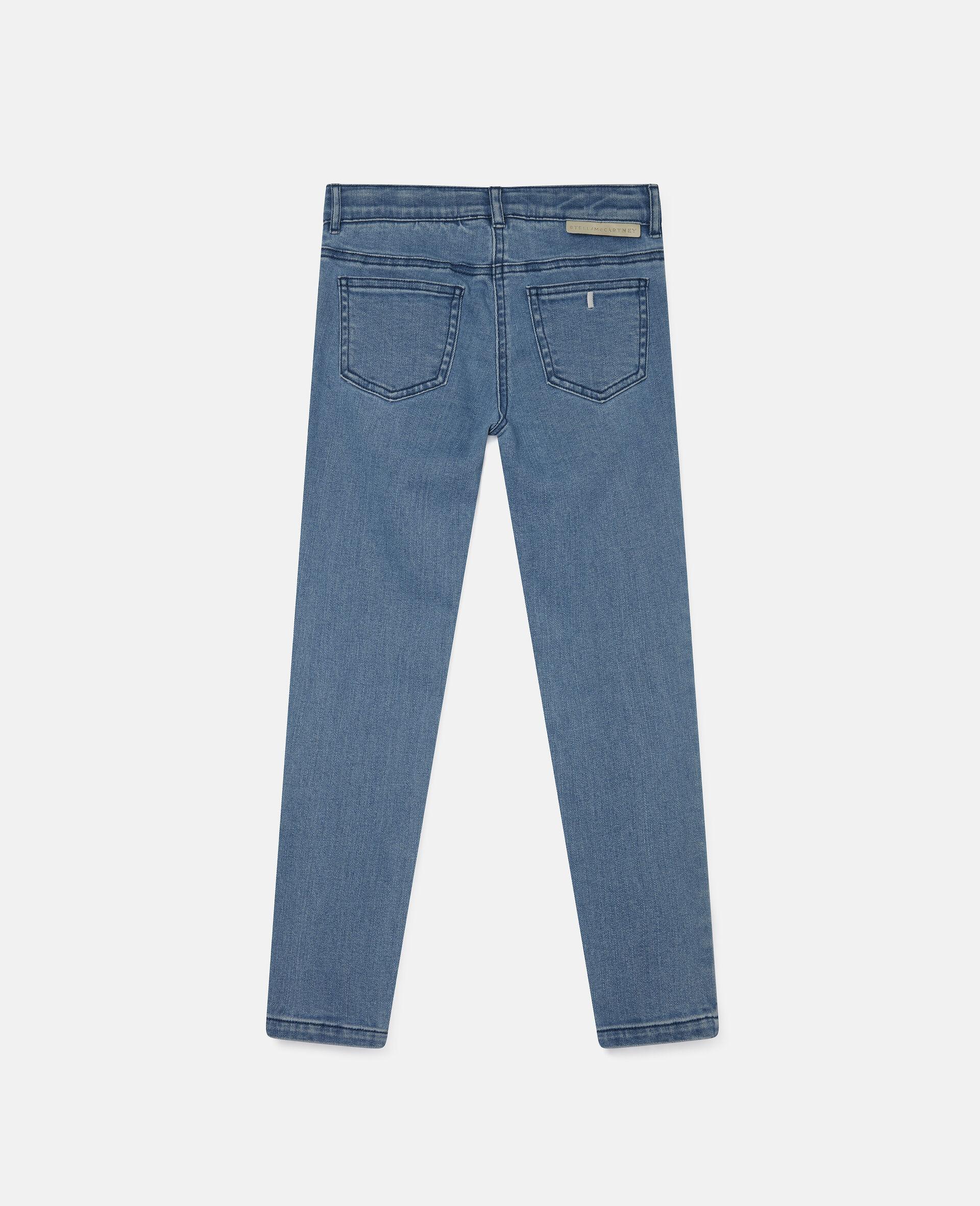 Pantalon en denim à fleurs brodées-Bleu-large image number 3