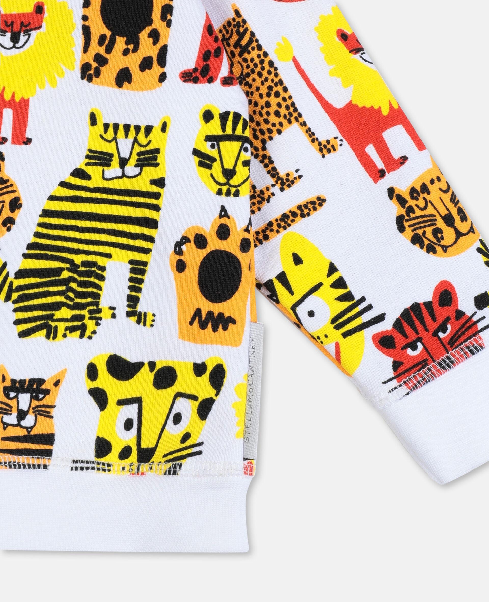 Sweatshirt aus Baumwolle mit Wildkatzen-Print -Gelb-large image number 1