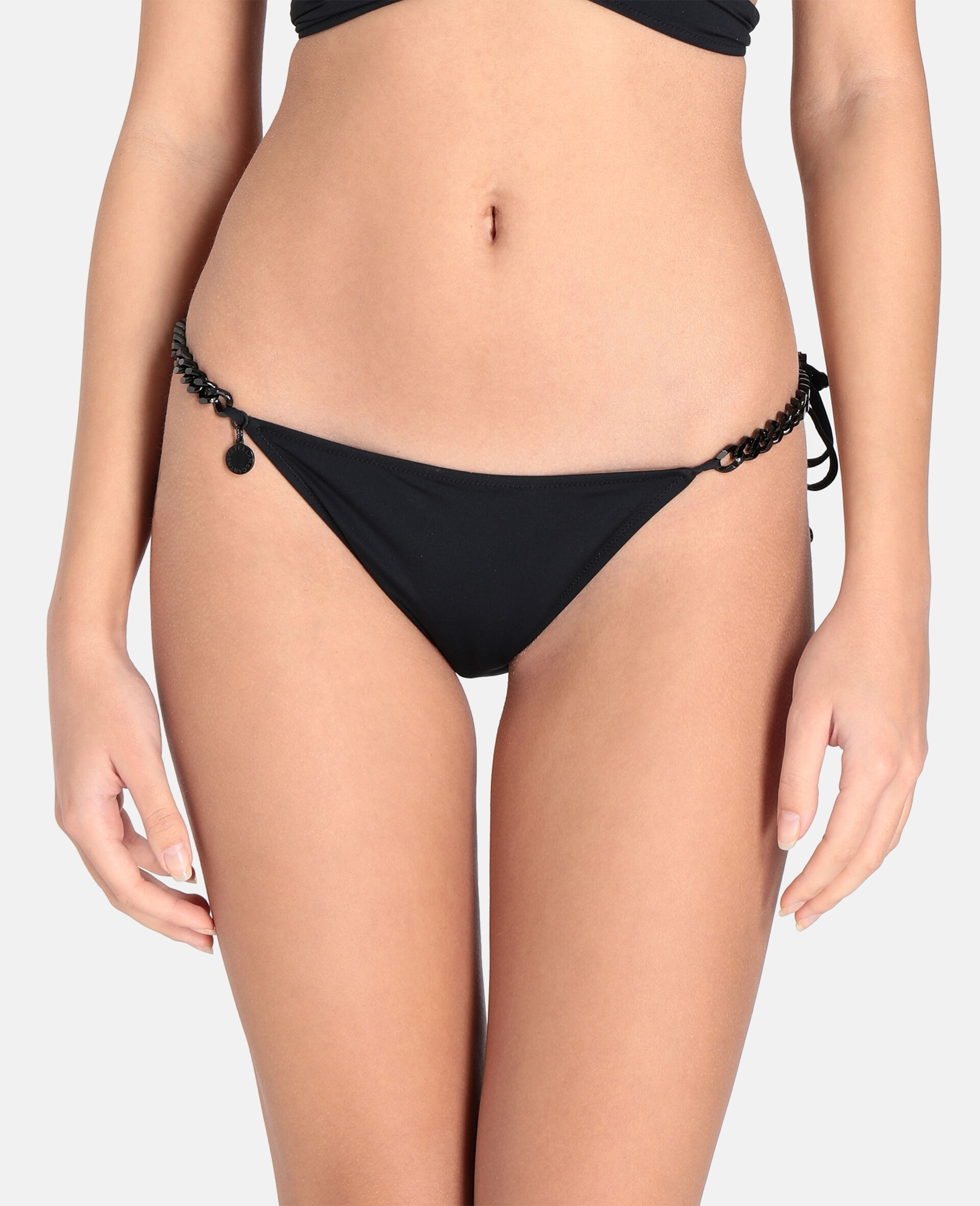 Iconic Chain Tie Side Bikini Bottoms-Black-large image number 3