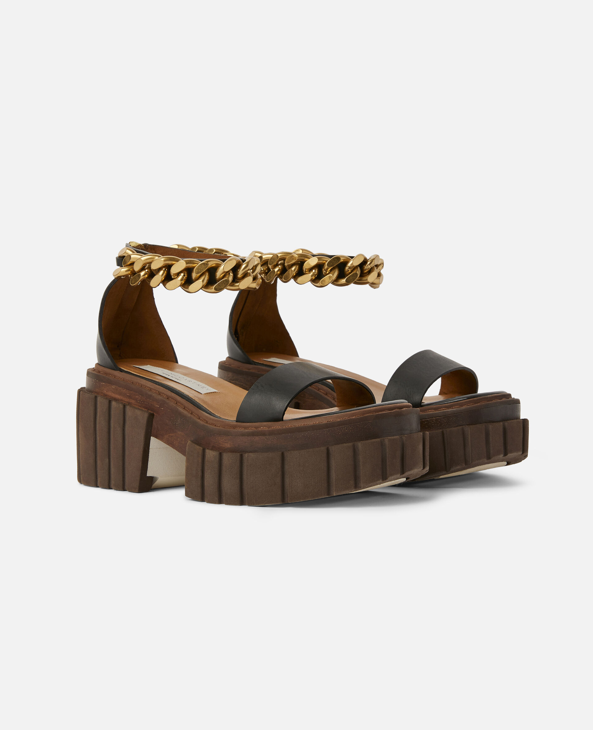 Emilie Chunky Chain Sandals-Black-large image number 1
