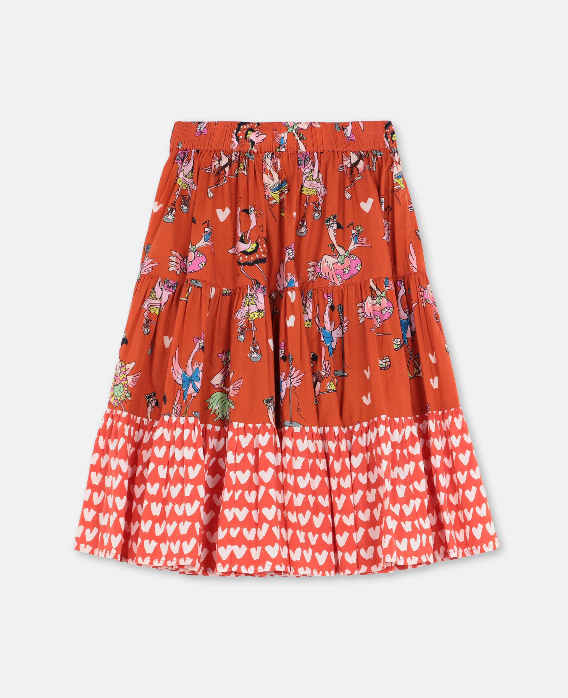 Flamingo Party Cotton Skirt -Red-large image number 3