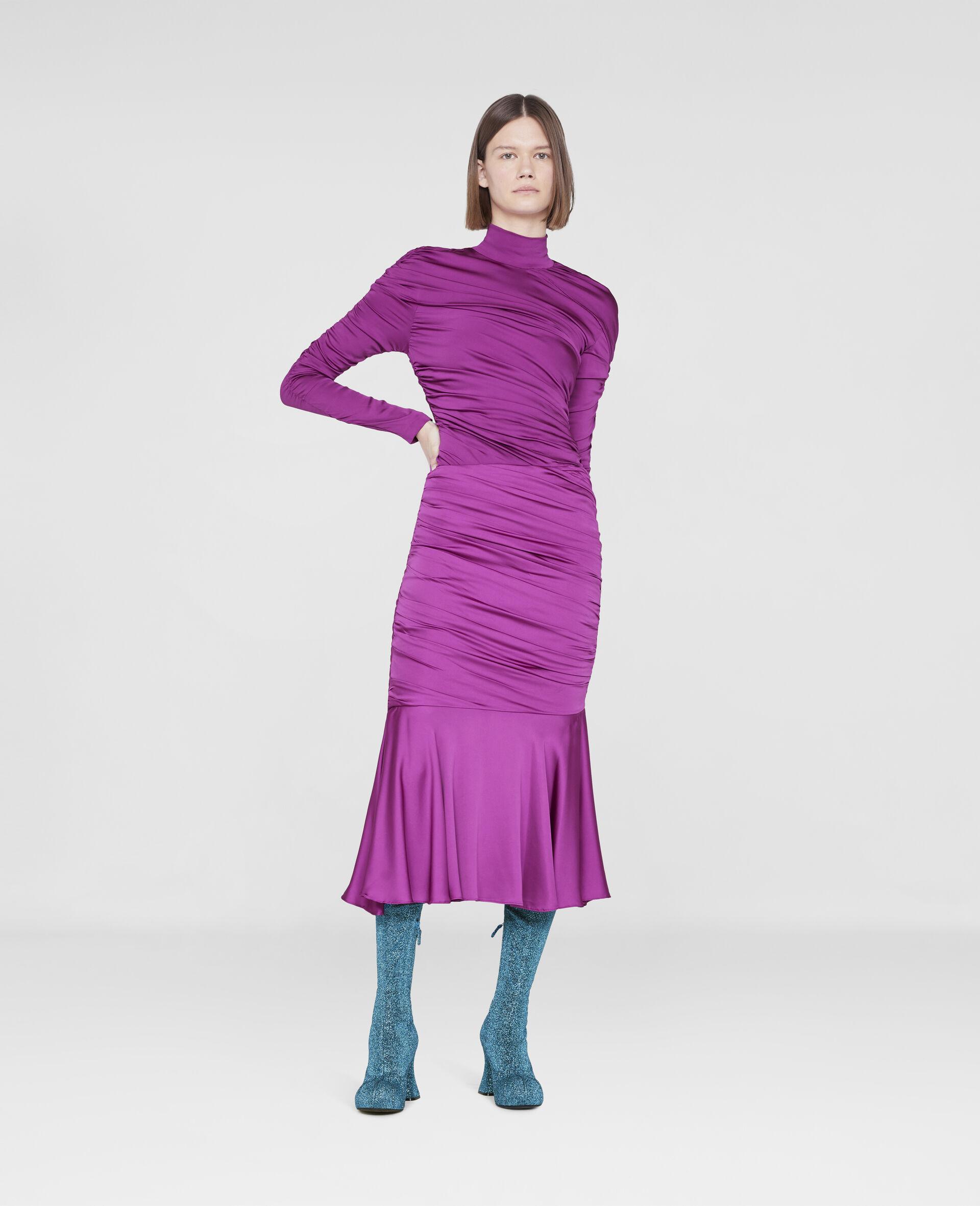 Henley Ruched Godet Skirt-Purple-large image number 1