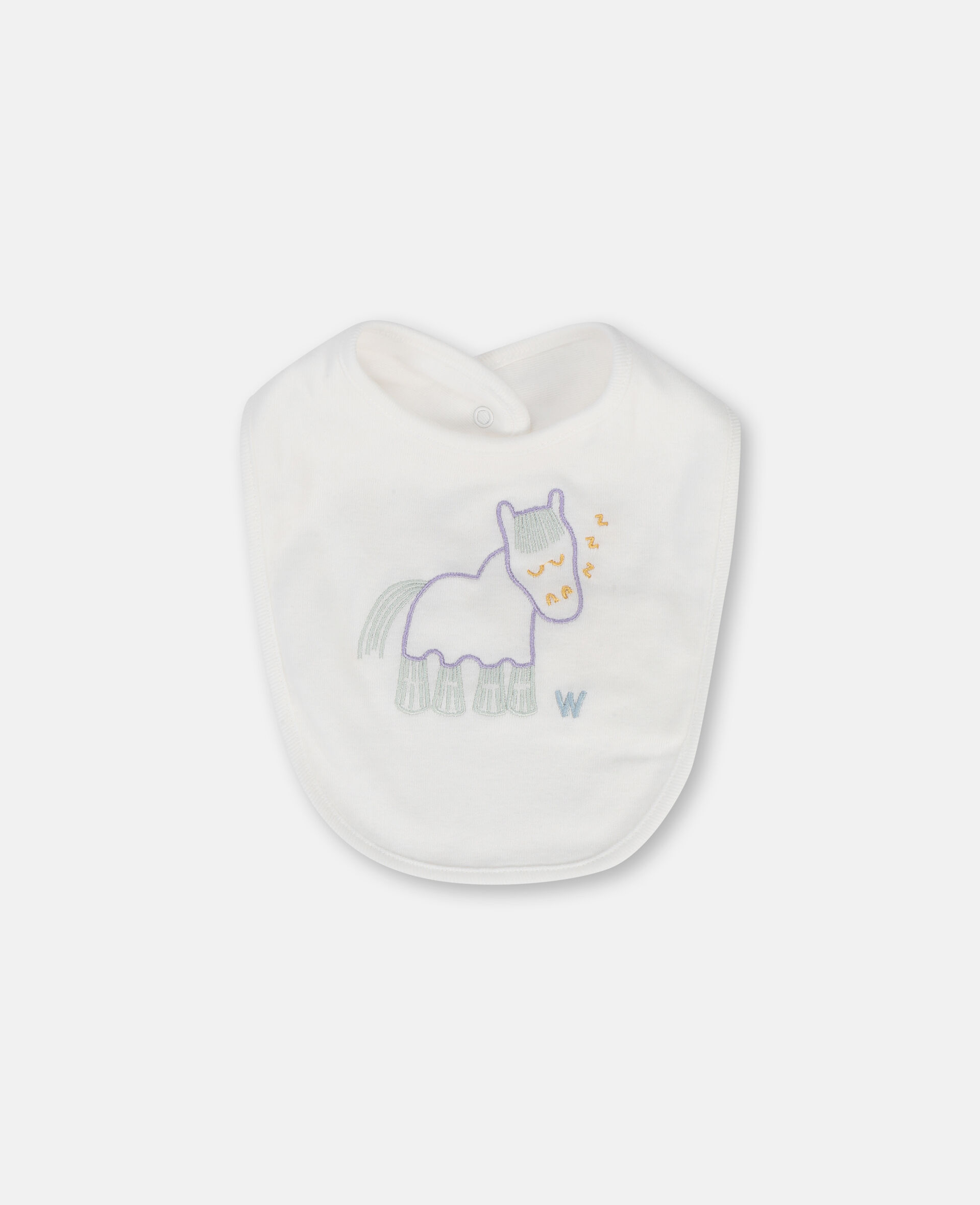 Embroidered Horses Jersey Rib Bibs Set-White-large image number 1