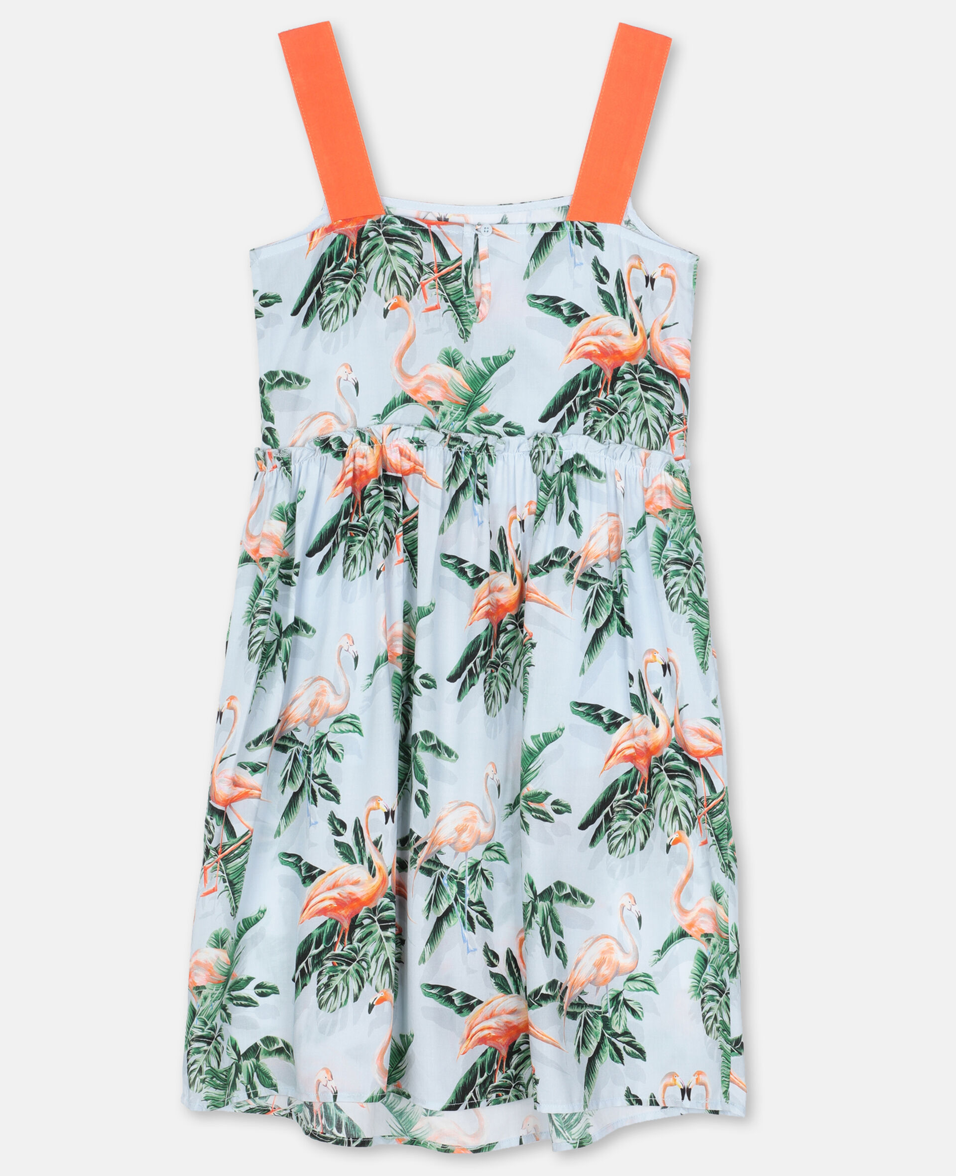 Painty Flamingo Viscose Dress-Green-large image number 3
