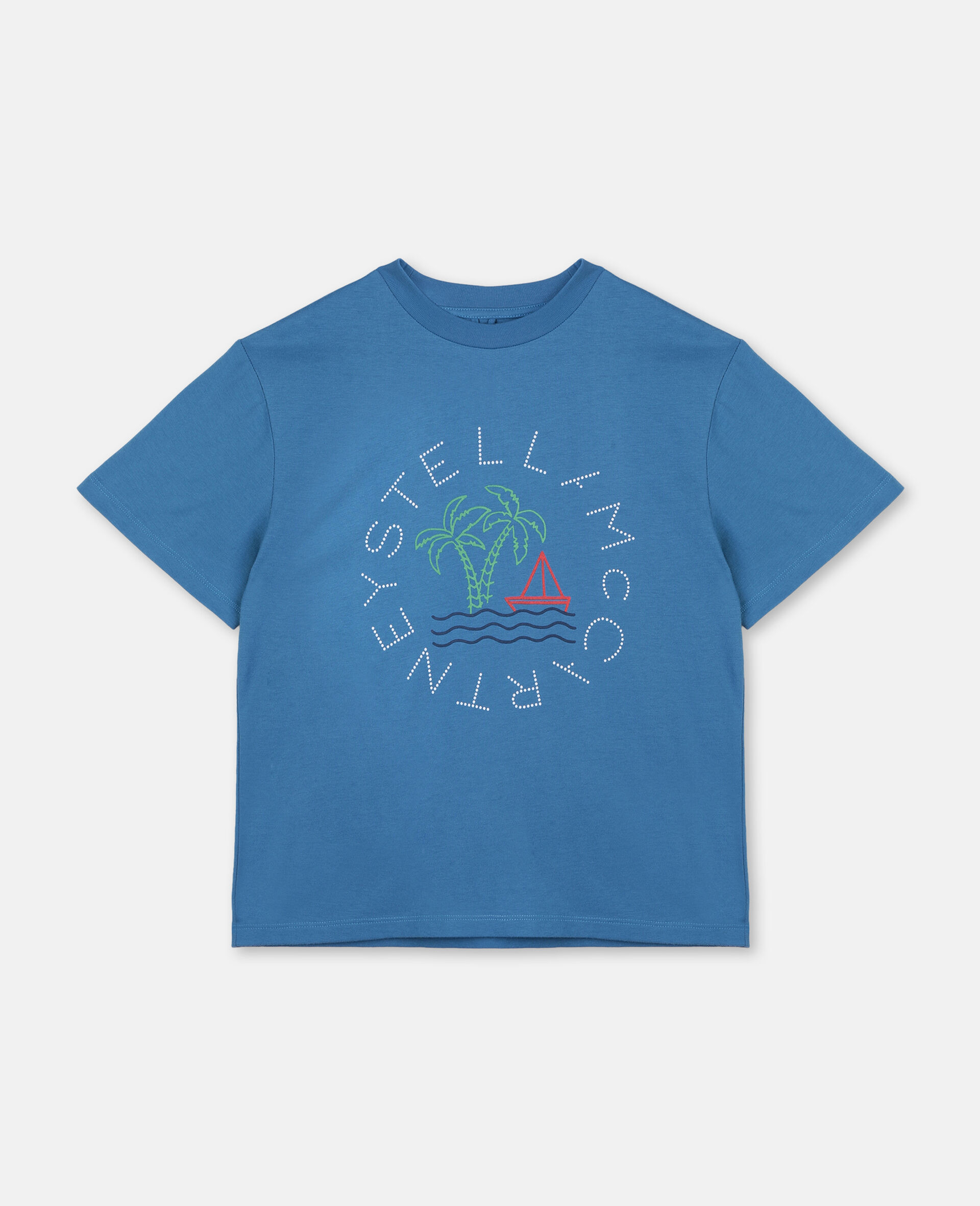 Oversize Logo Sailing Cotton T-shirt -Blue-large image number 0