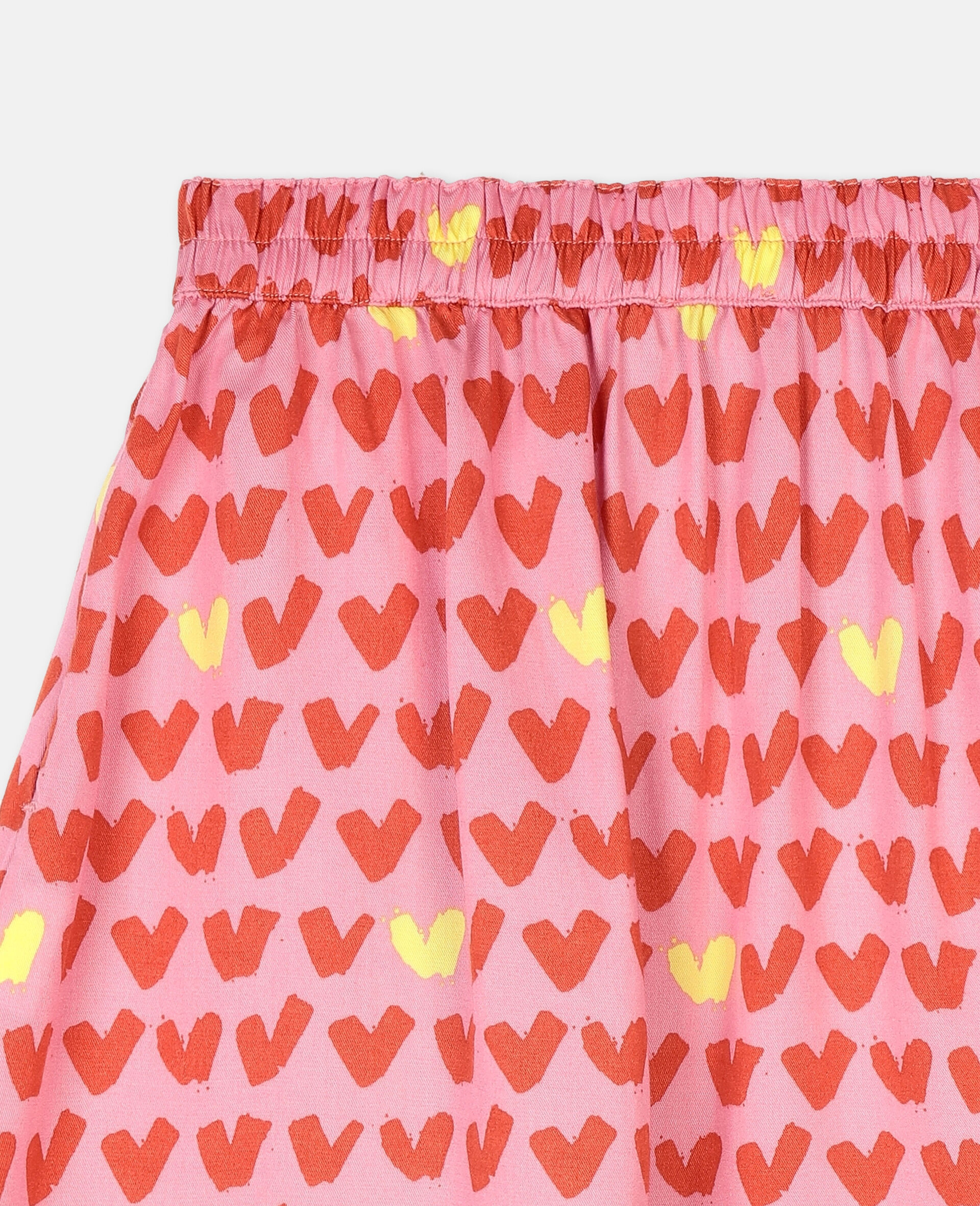 Hearts Viscose Twill Skirt -Pink-large image number 2
