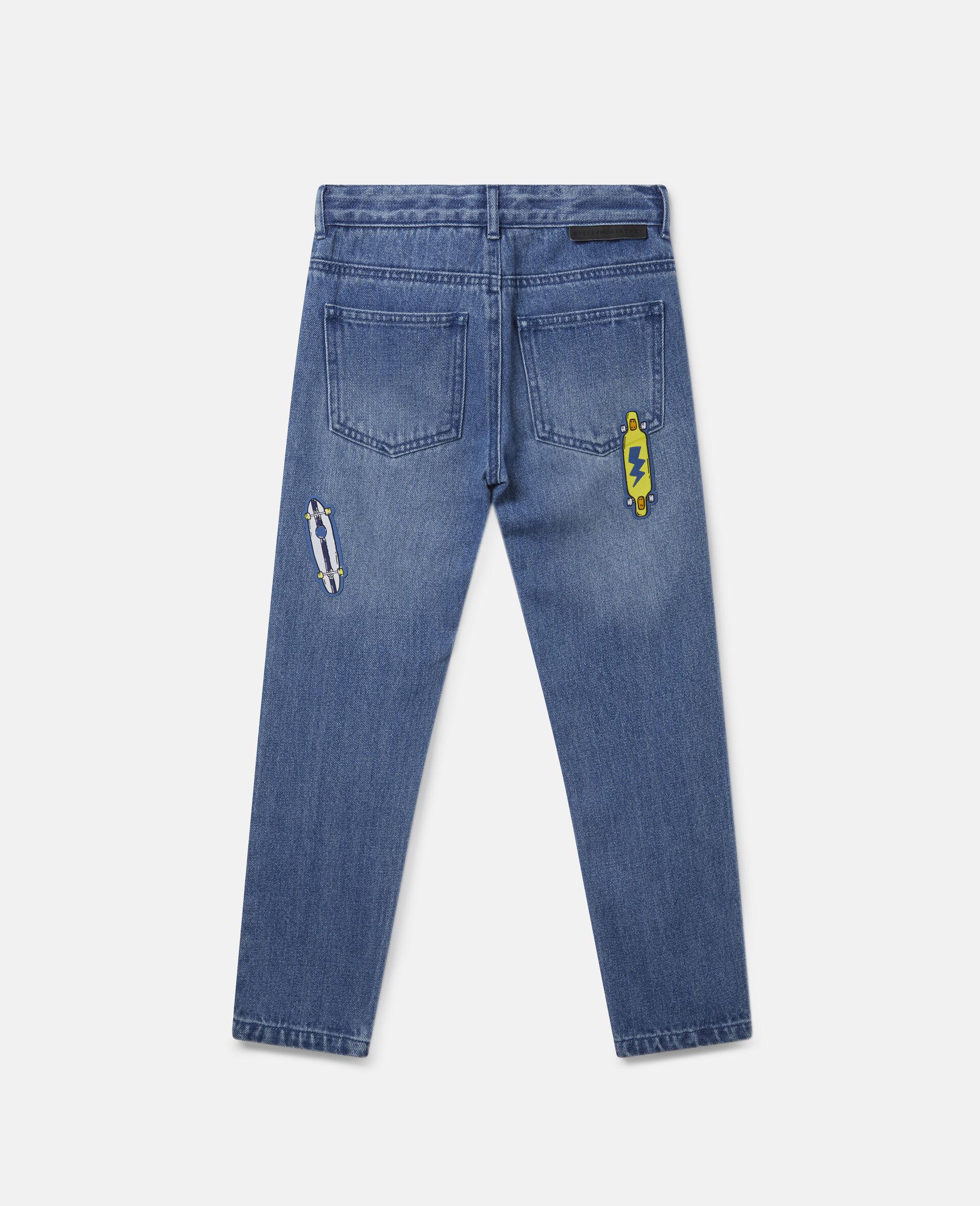 Pantalon en denim à écussons skateboard-Bleu-large image number 3