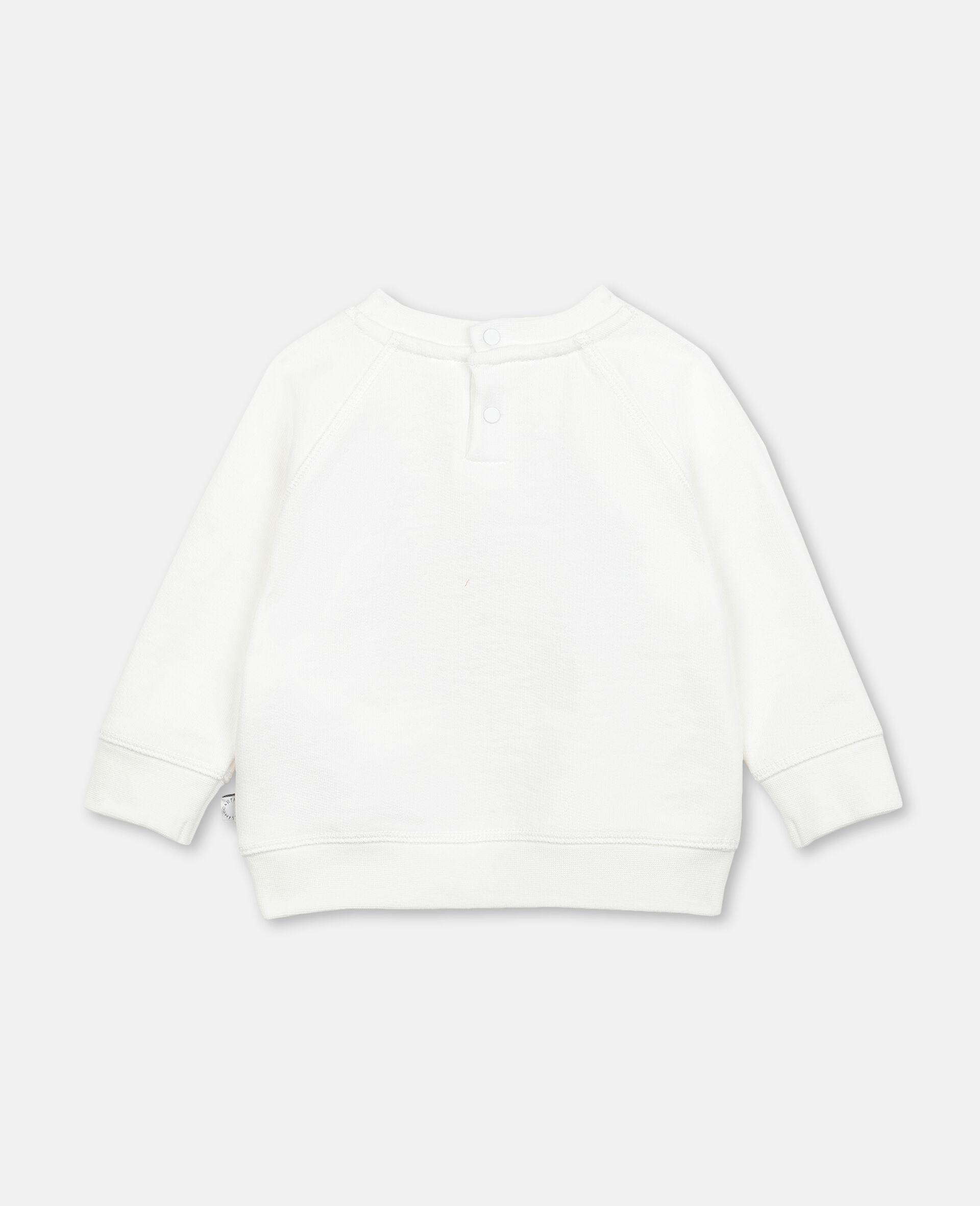 Sweatshirt aus Fleece mit Schmetterling-Print-Weiß-large image number 3