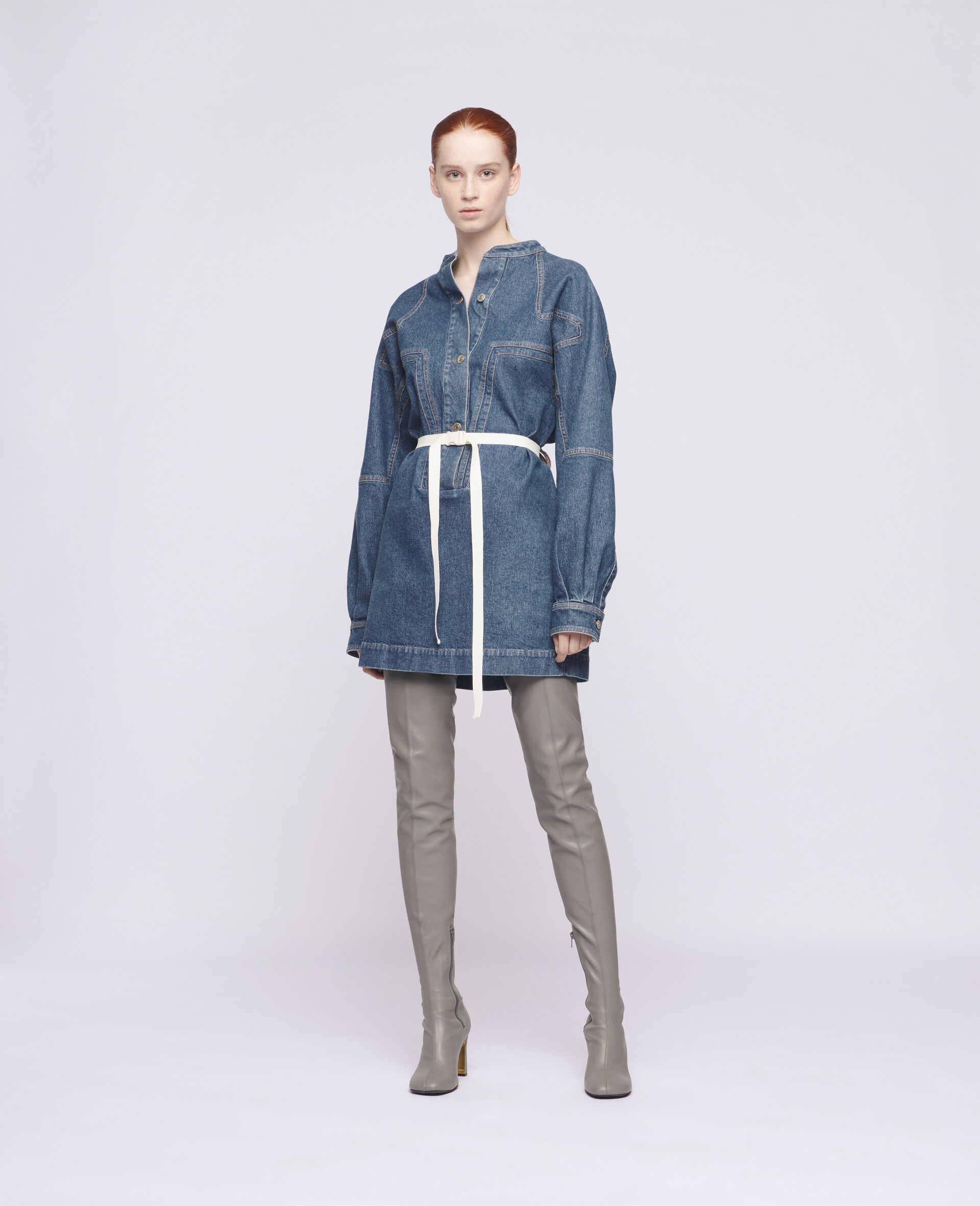Denim Mini Dress-Blue-large image number 1