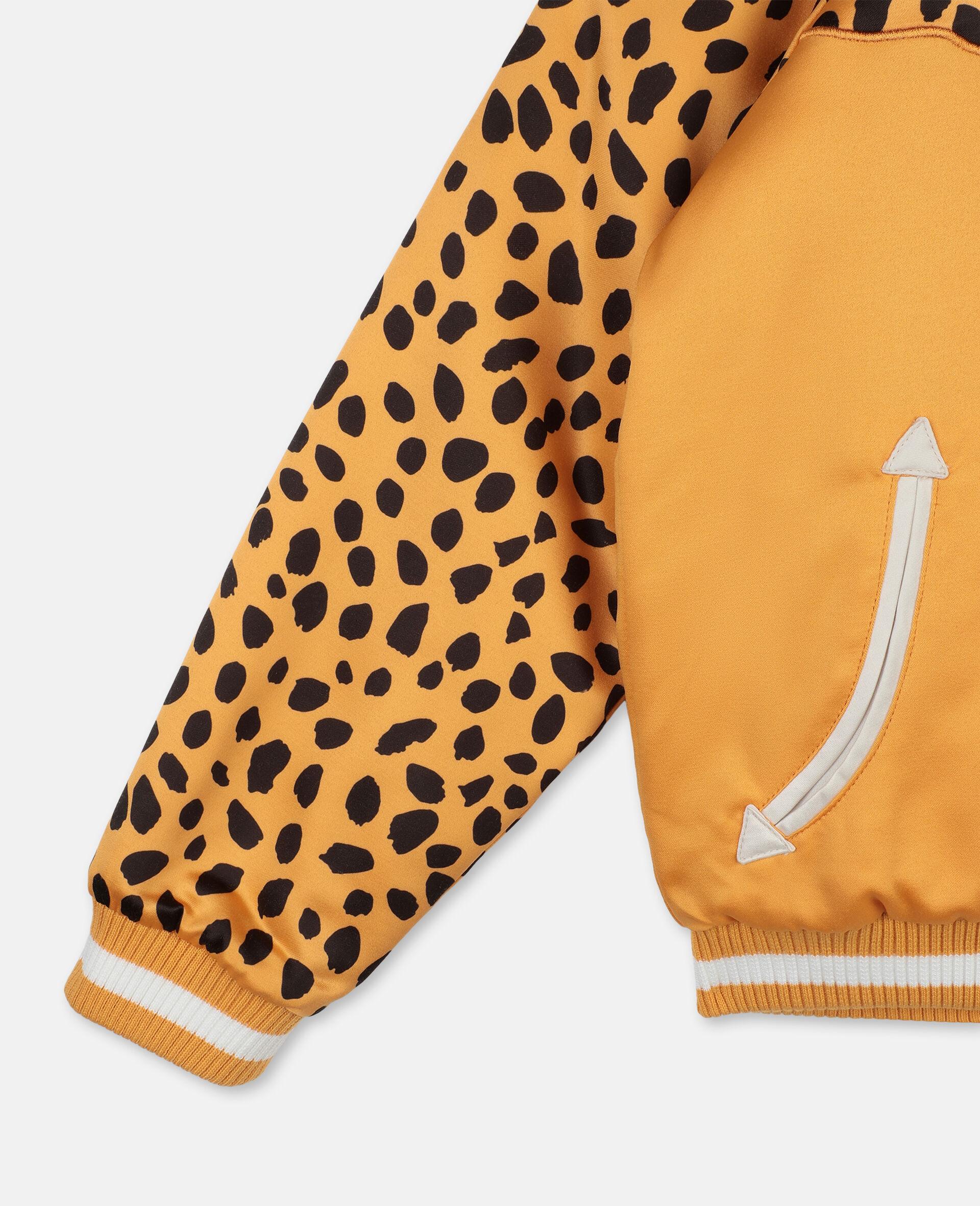 Cheetah Patch Satin Bomber   -Orange-large image number 2