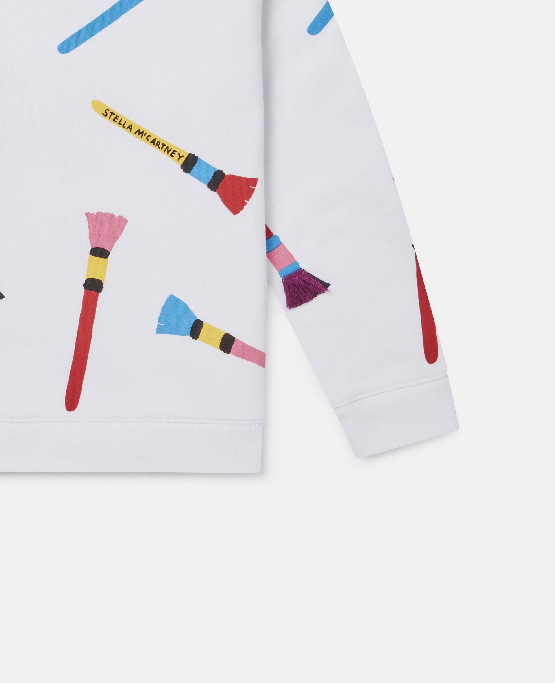 Sweatshirt aus Baumwollfleece mit Pinsel-Print -Weiß-large image number 2