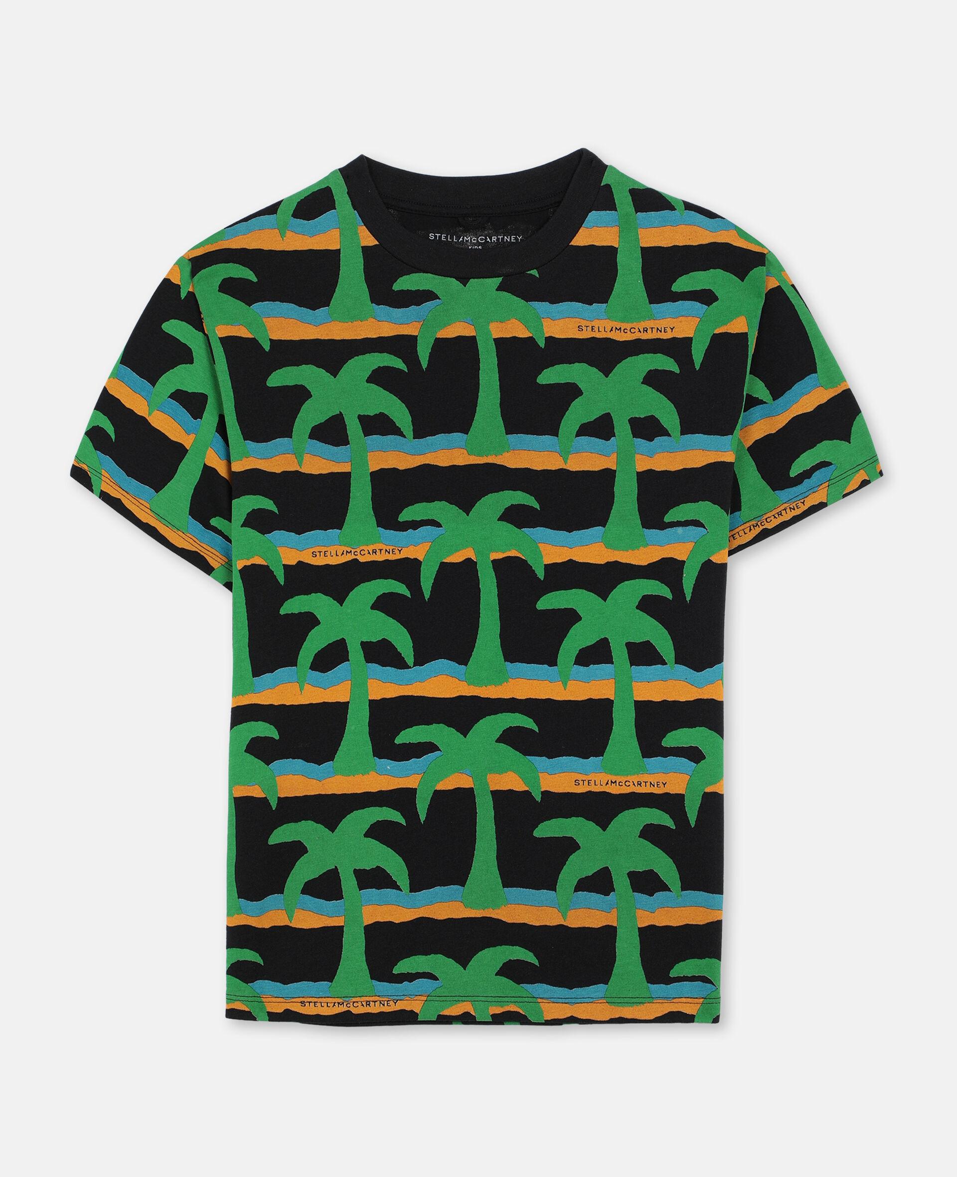 Oversize Palm Cotton T-shirt -Black-large image number 0