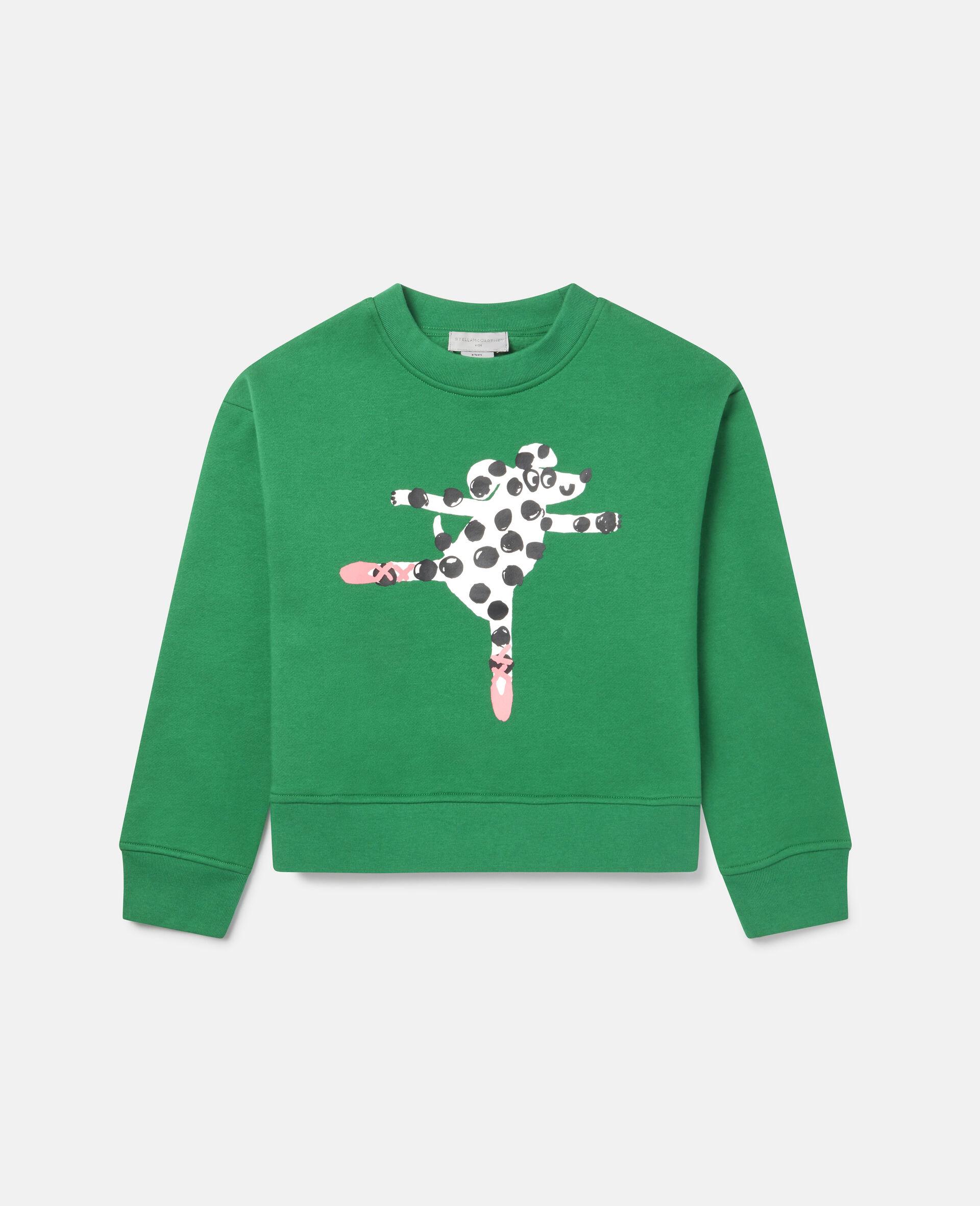 Übergroßes Sweatshirt aus Fleece mit tanzendem Hund -Grün-large image number 0
