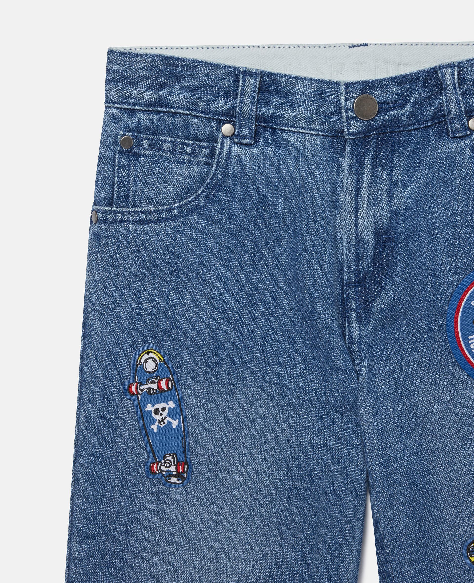 滑板徽章牛仔短裤-蓝色-large image number 1