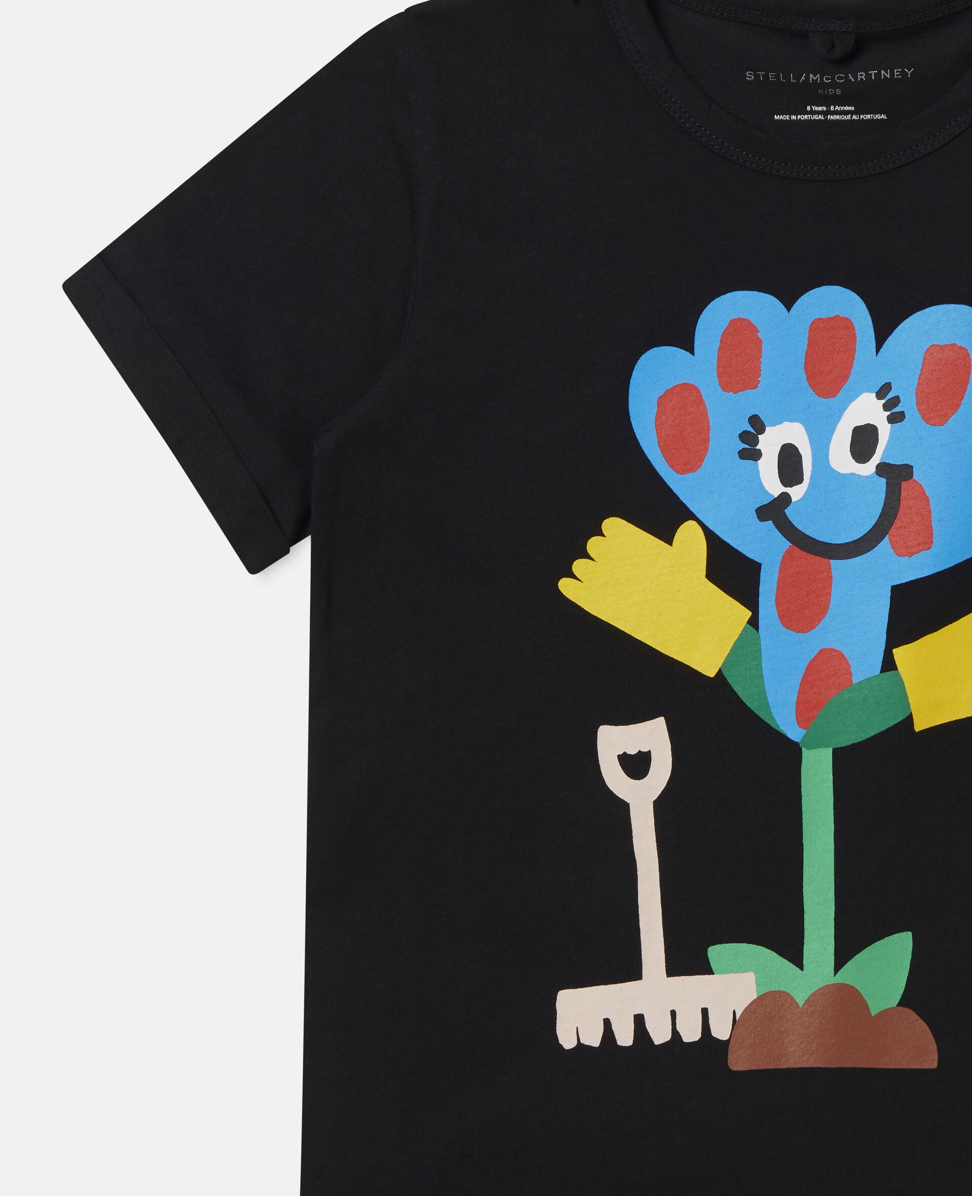 Spotty Flower Cotton T-shirt -Black-large image number 2