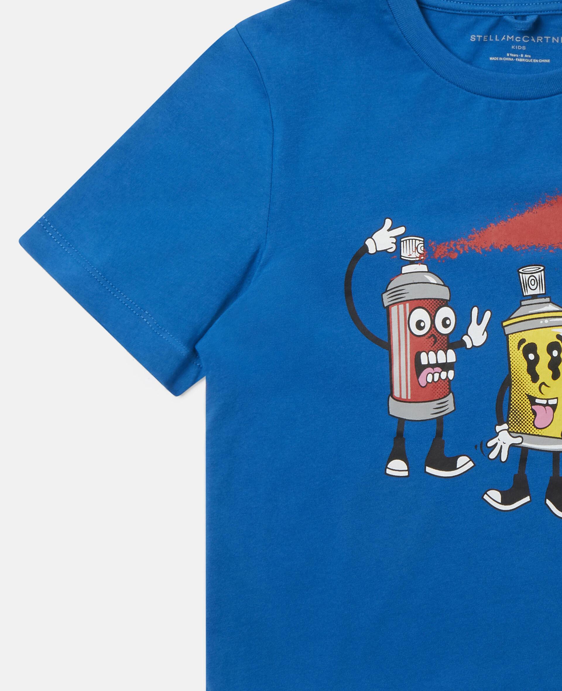 """T-Shirt aus Baumwolle mit """"Spray Gang""""-Print-Blau-large image number 2"""