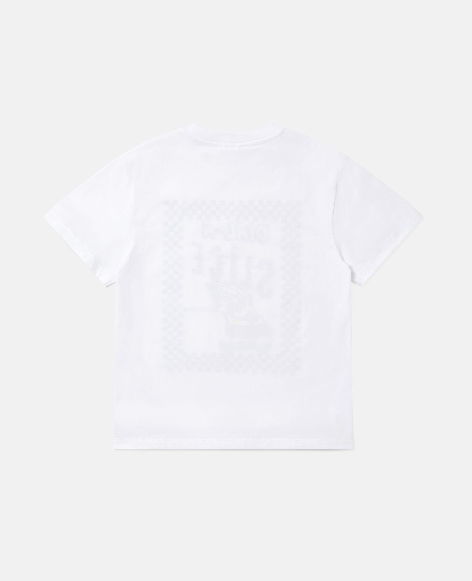 Übergroßes Baumwoll-T-Shirt mit Pizza-Skater-Motiv -Weiß-large image number 3