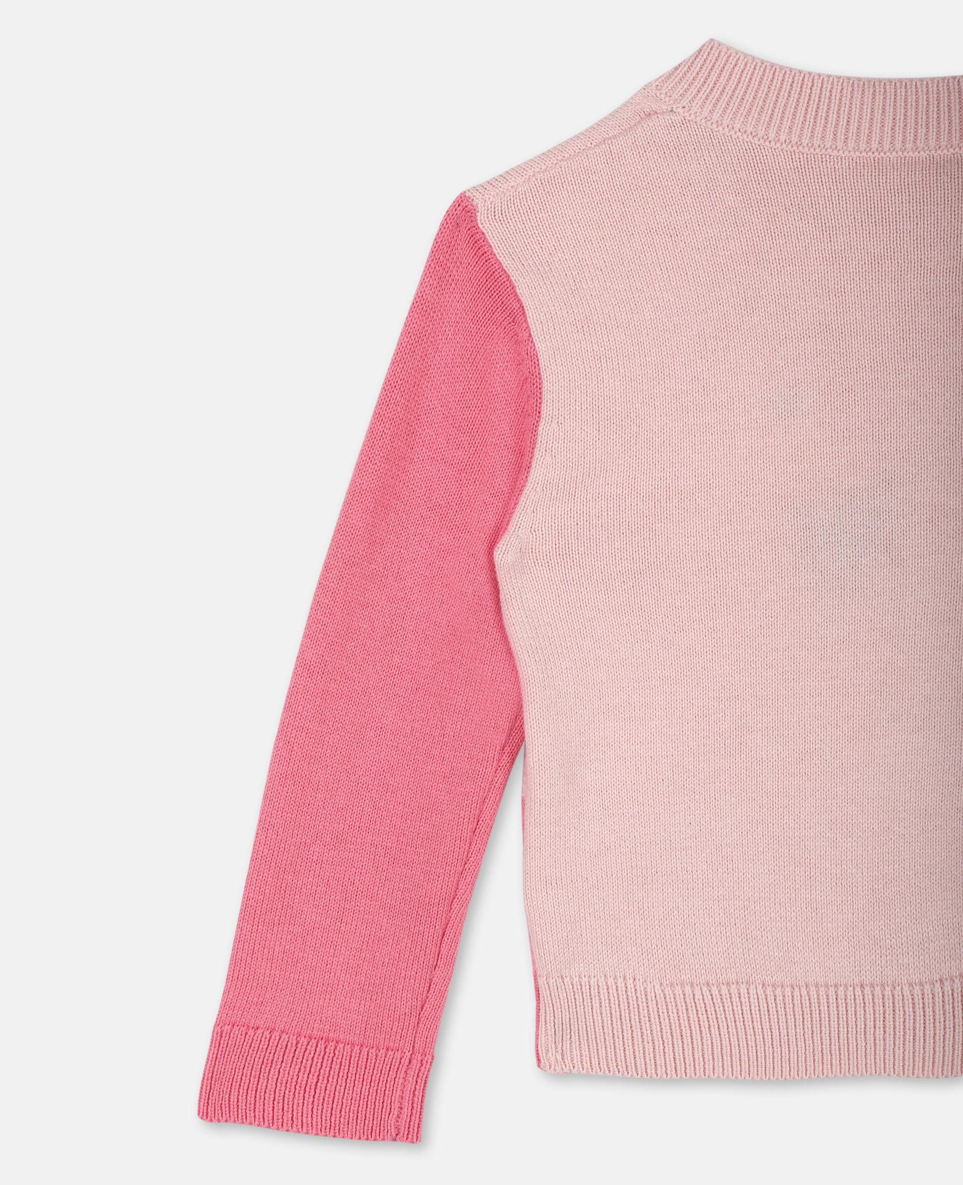 Flamingo Intarsia Knit Cotton Cardigan -Pink-large image number 2