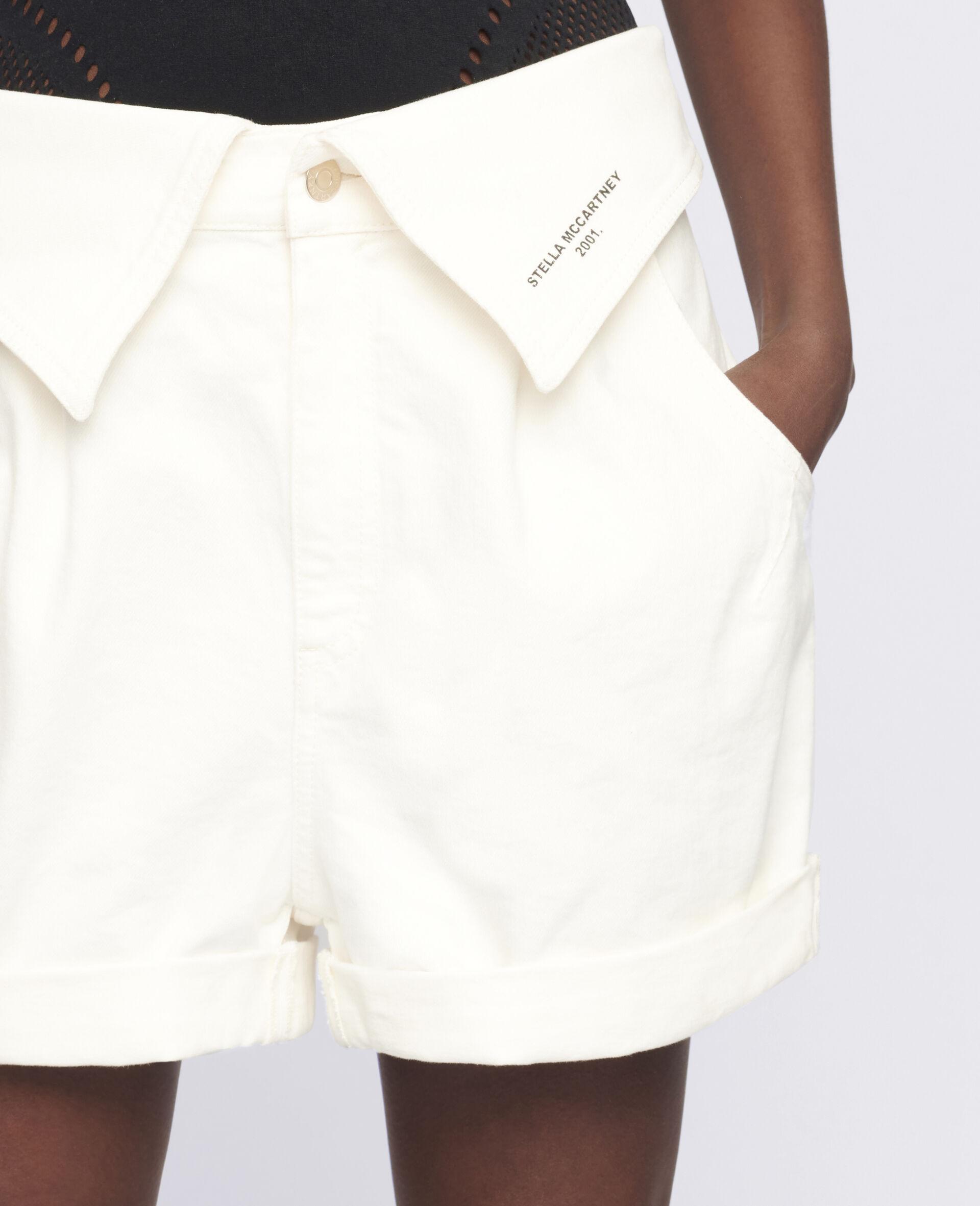 Denim-Shorts mit Print-Weiß-large image number 3